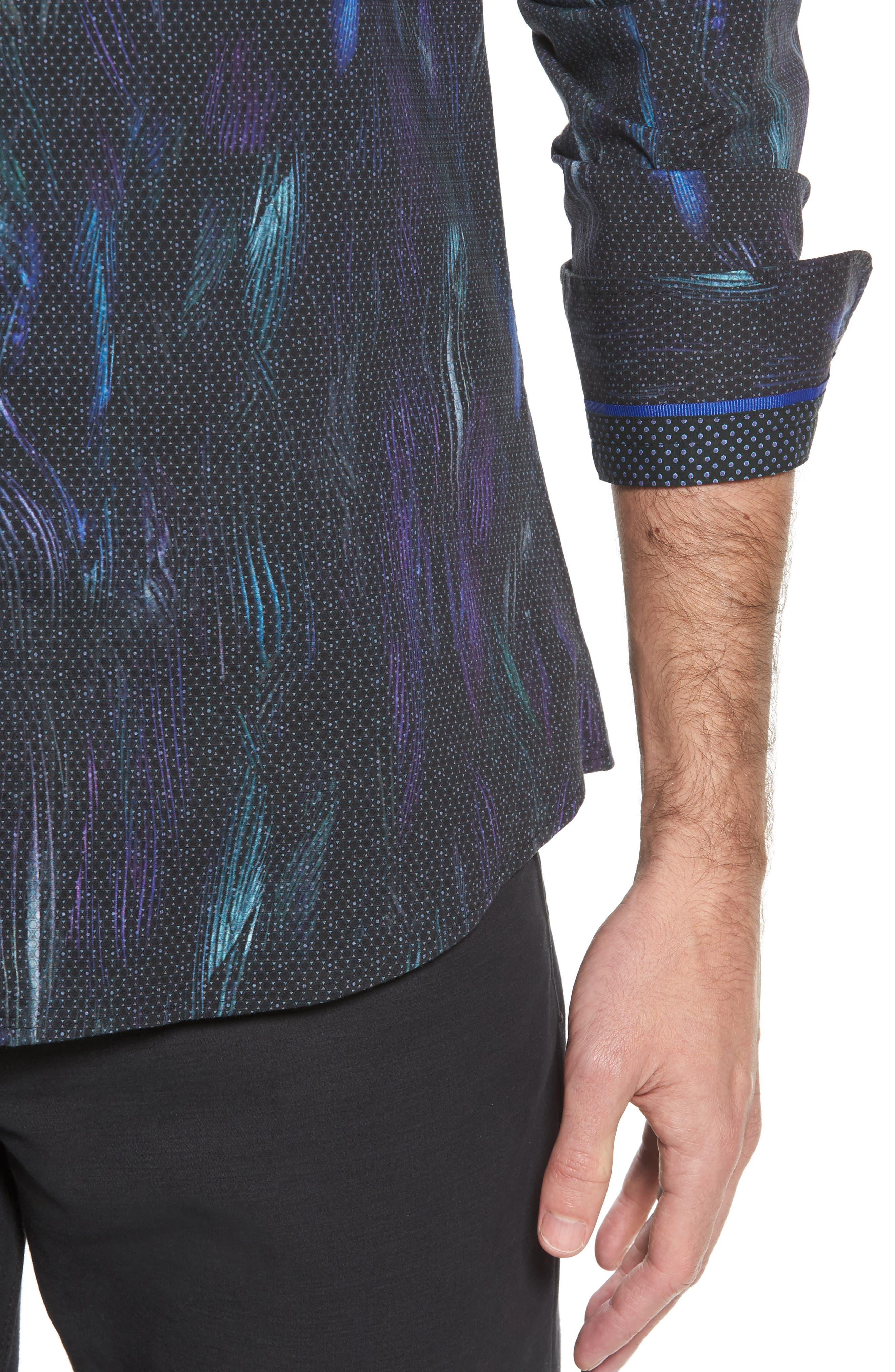 Slim Fit Geo FX Print Sport Shirt,                             Alternate thumbnail 4, color,                             Black