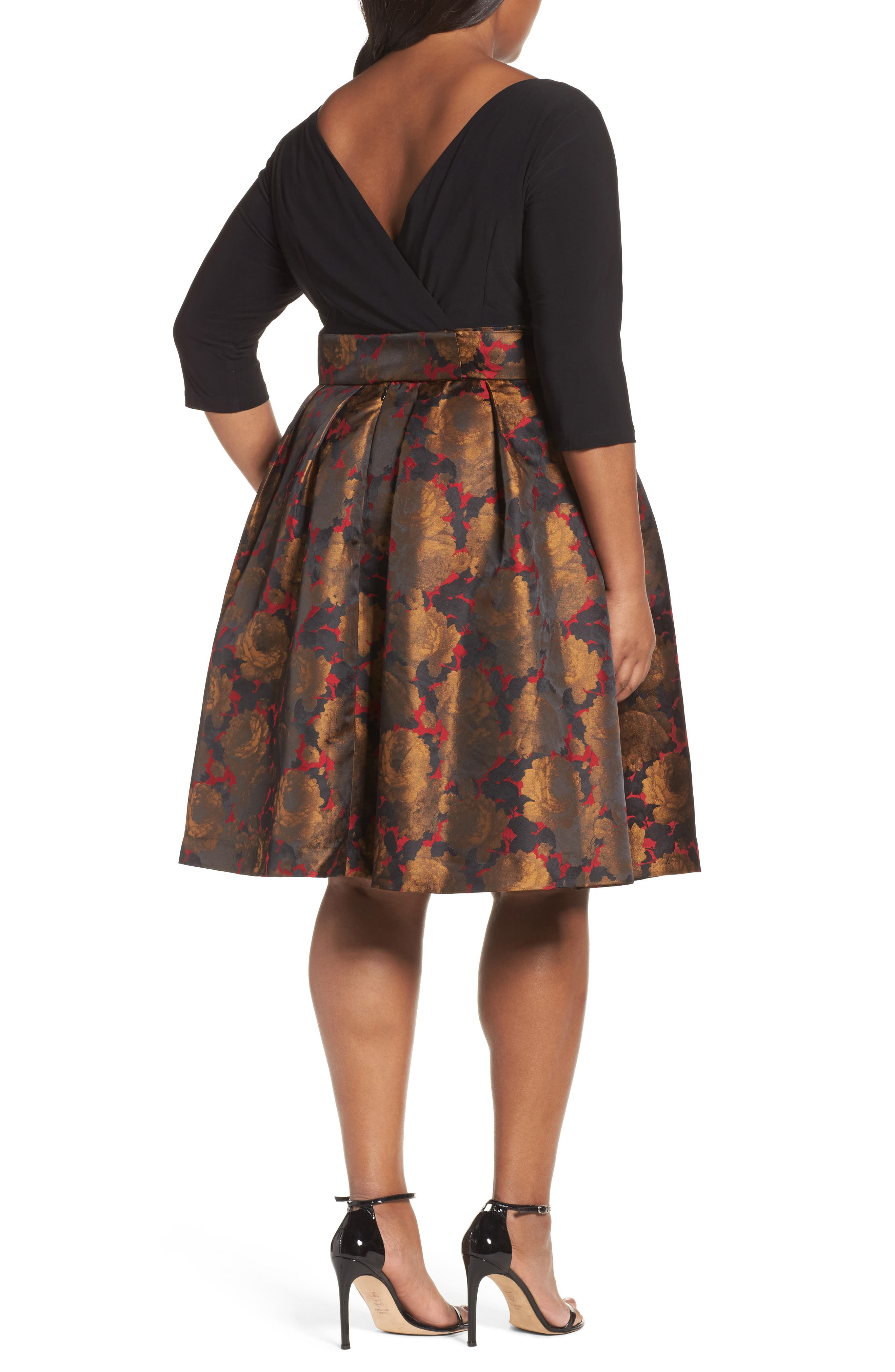 Alternate Image 2  - Adrianna Papell Mixed Media Fit & Flare Dress (Plus Size)