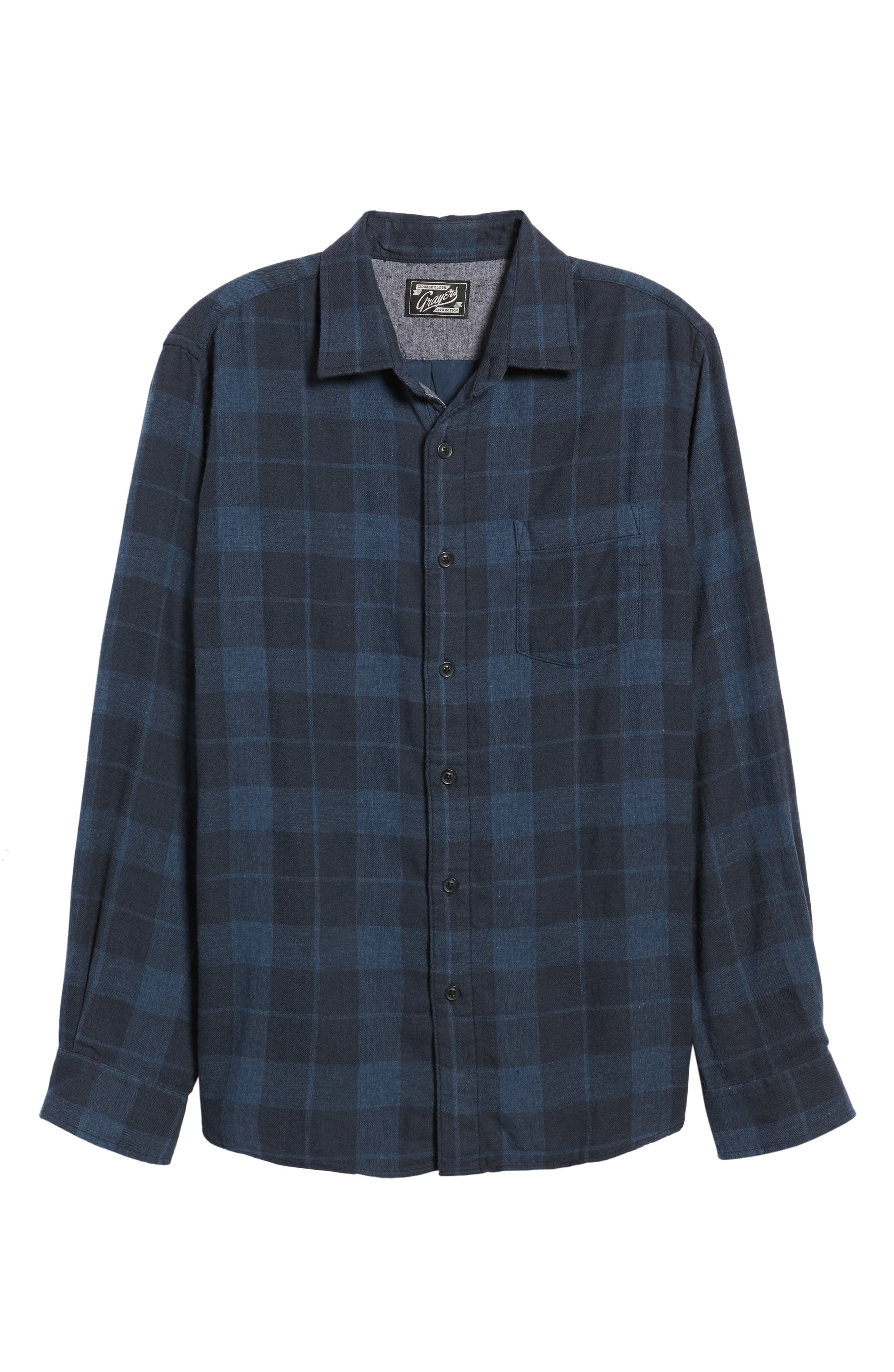 Helsby Double Cloth Plaid Sport Shirt,                             Alternate thumbnail 6, color,                             Charcoal Navy Heather