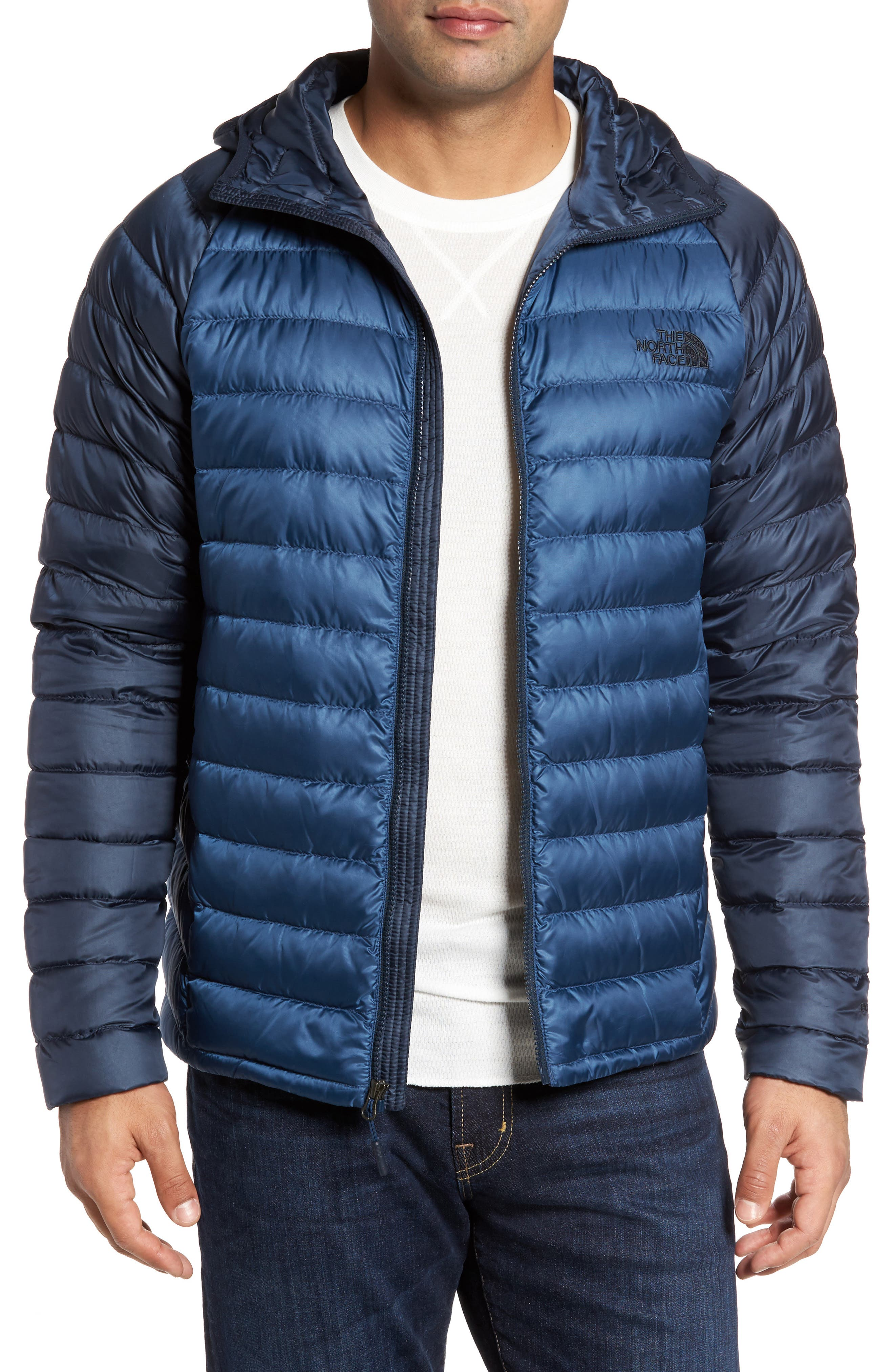 Trevail Water Repellent Packable 800-Fill-Power Down Hooded Jacket,                         Main,                         color, Shady Blue/ Urban Navy