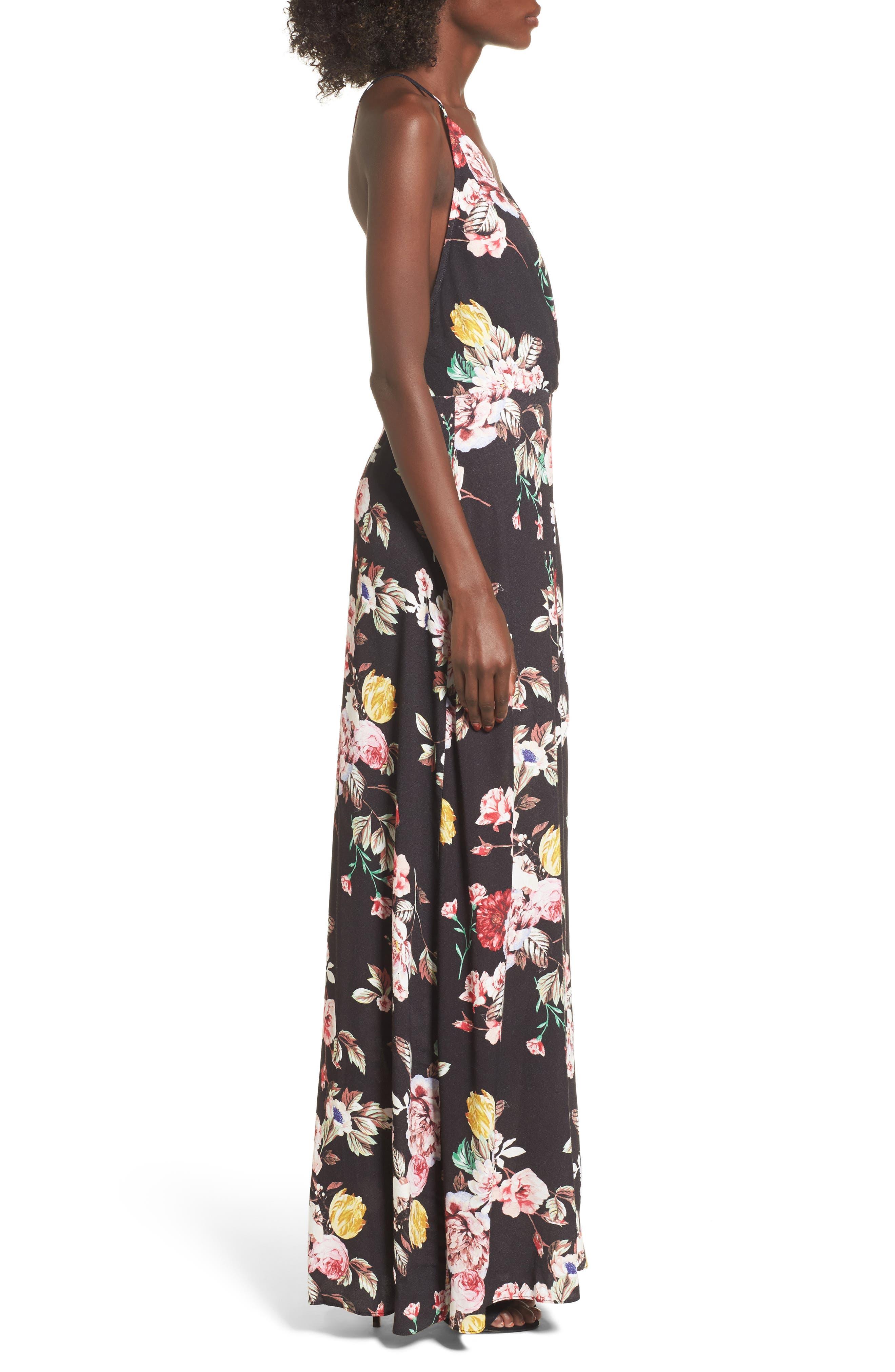 Kinsely Faux-Wrap Maxi Dress,                             Alternate thumbnail 3, color,                             Primrose Noir