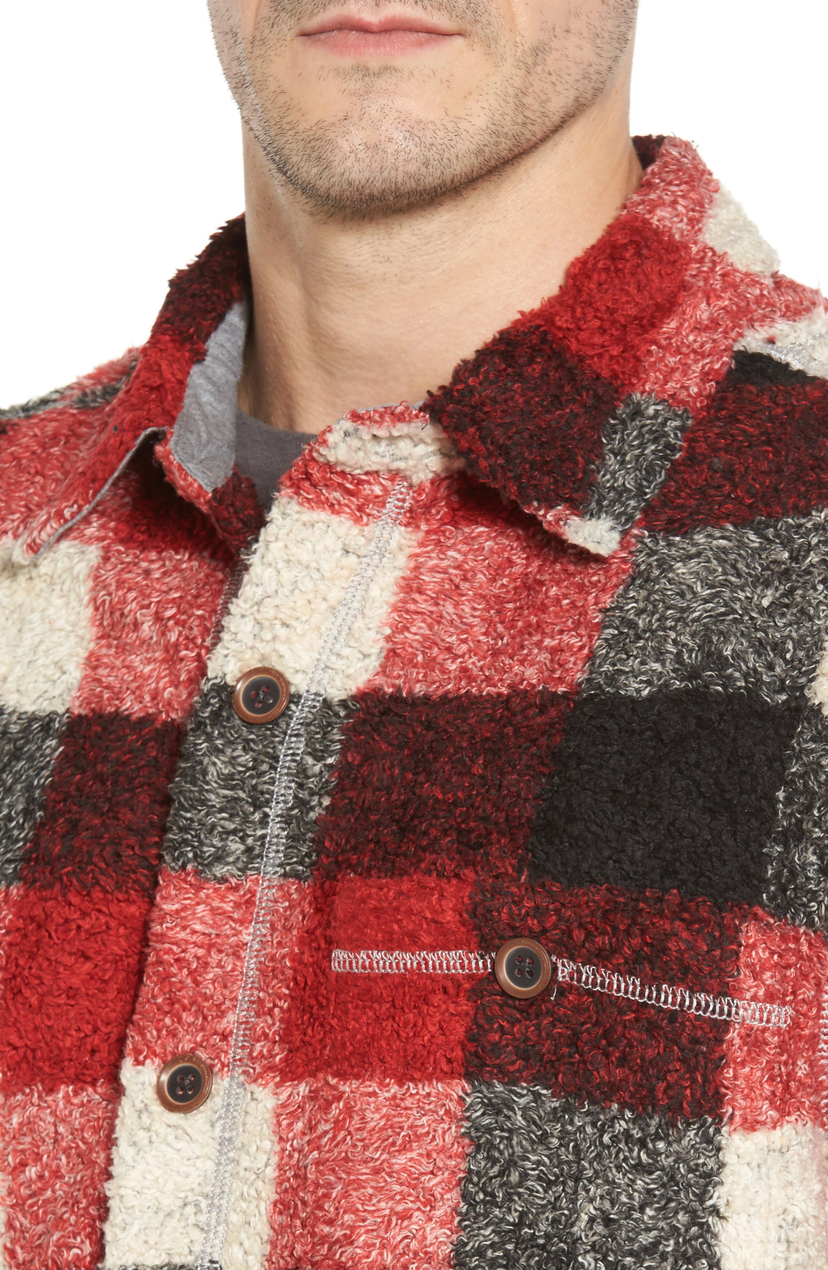 Textured Buffalo Check Shirt Jacket,                             Alternate thumbnail 4, color,                             Red/ Black