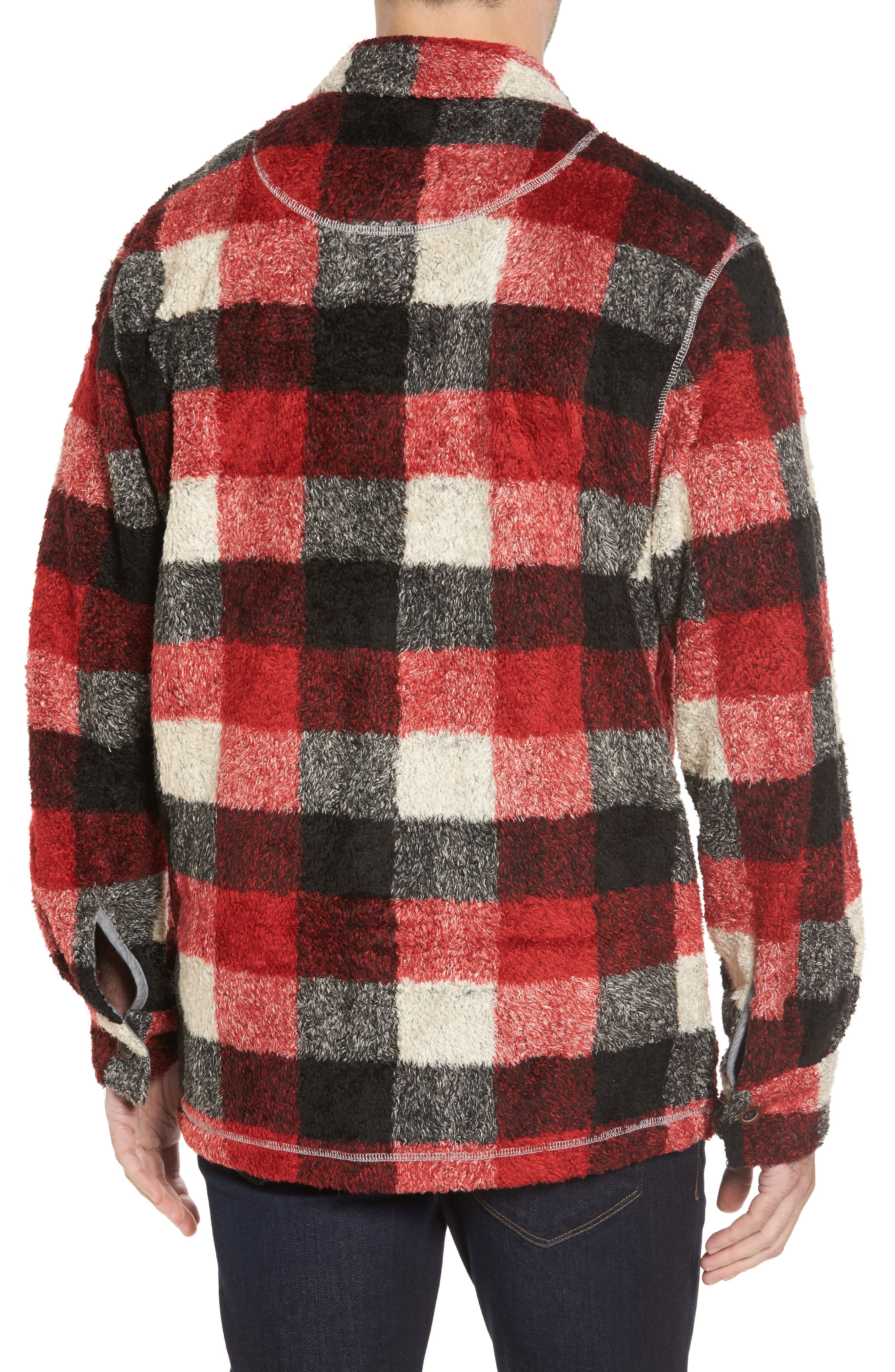 Textured Buffalo Check Shirt Jacket,                             Alternate thumbnail 2, color,                             Red/ Black