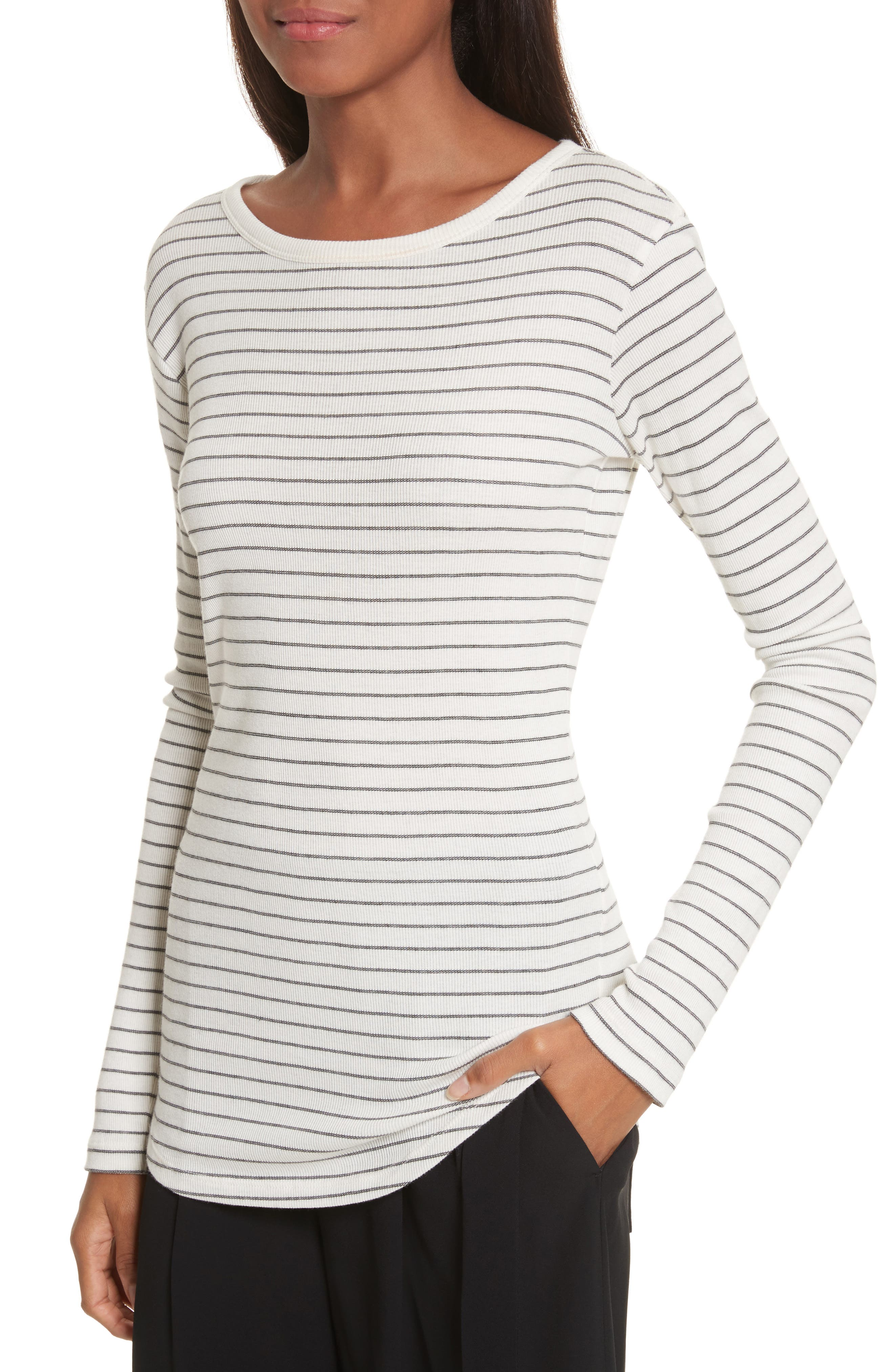 Alternate Image 4  - Vince Double Pinstripe Shirttail Tee
