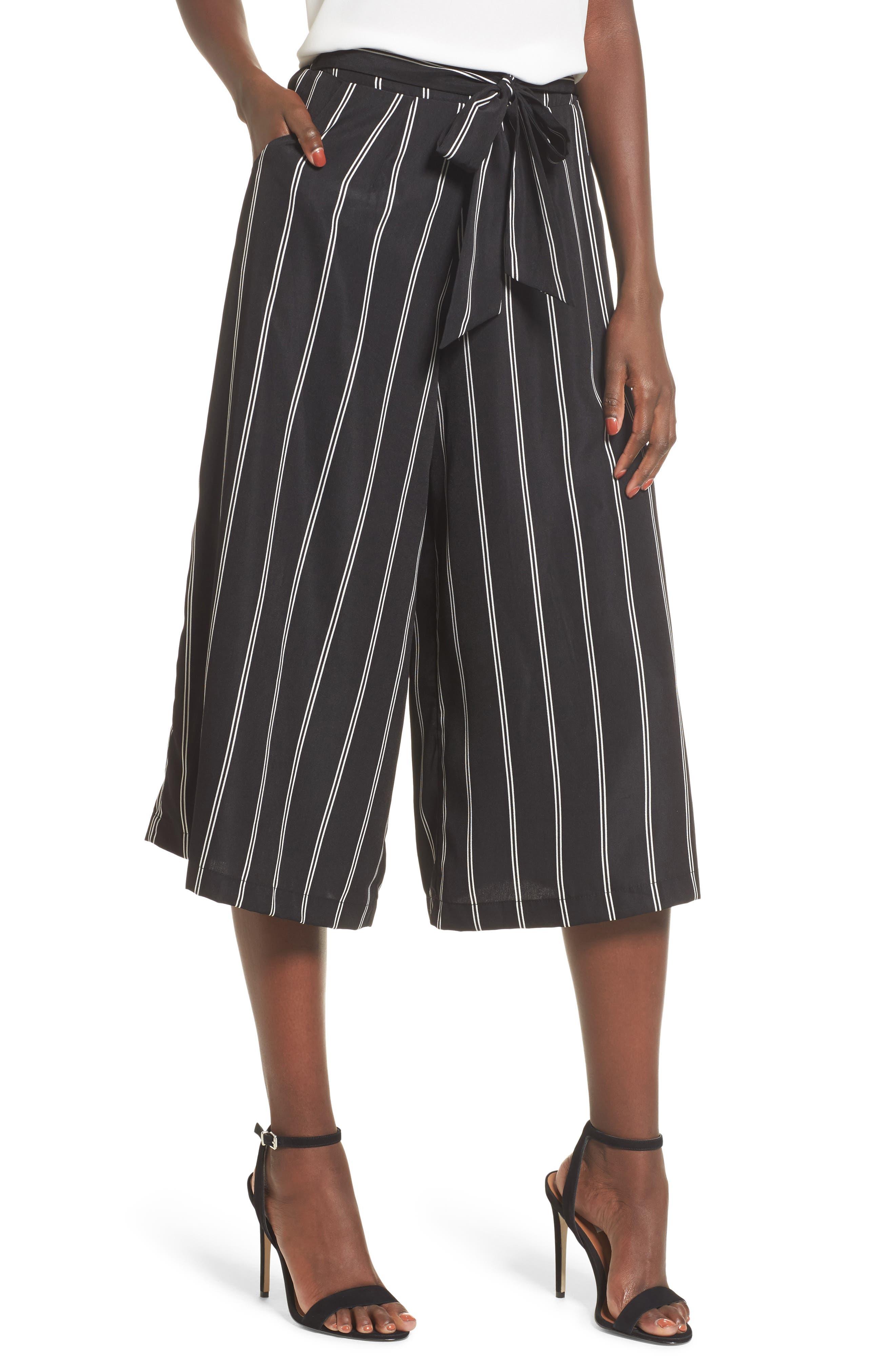 Stripe Tie Front Crop Pants,                         Main,                         color, Black Stripe