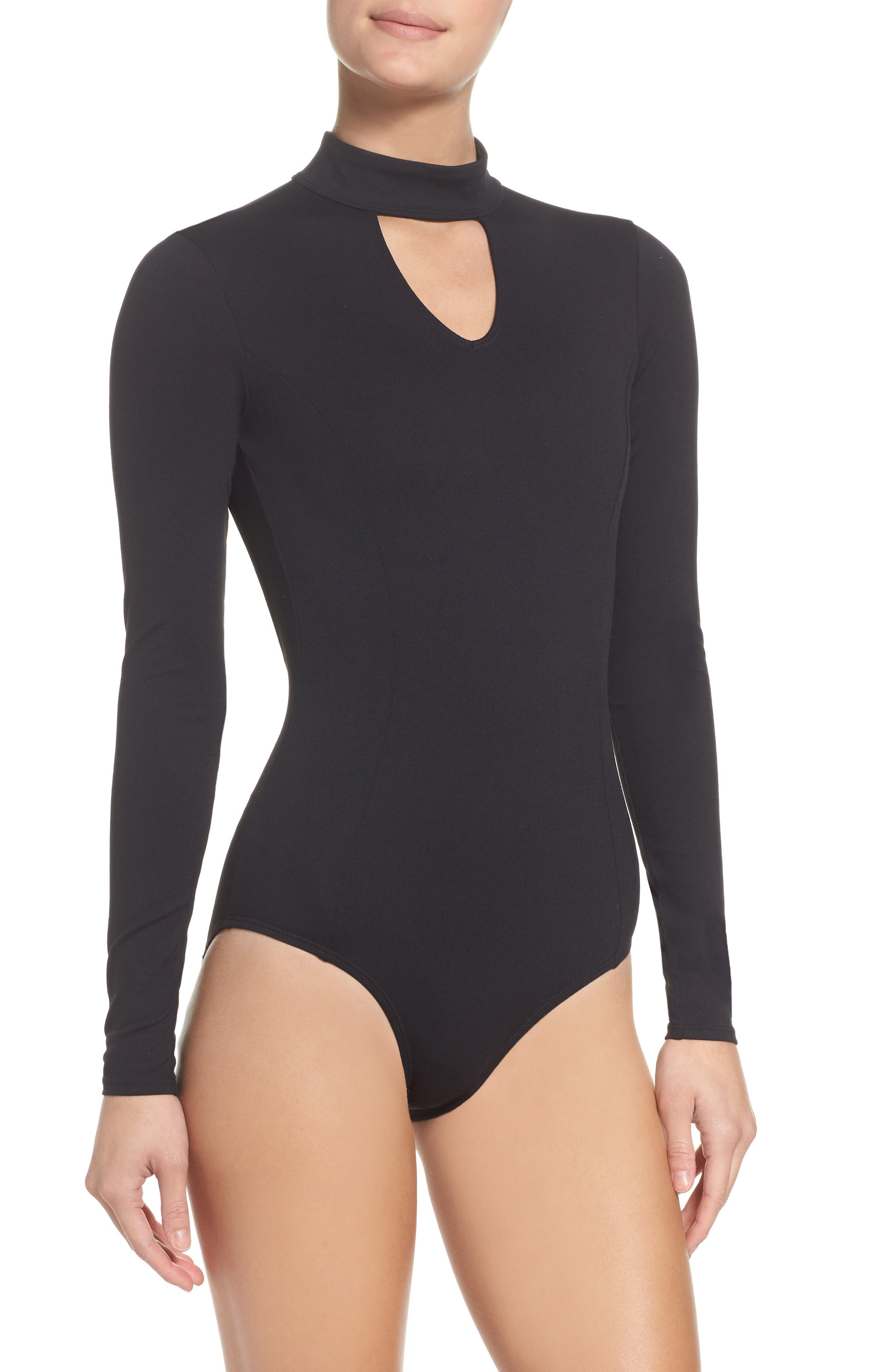 So Flawless Keyhole Bodysuit,                             Main thumbnail 1, color,                             Black