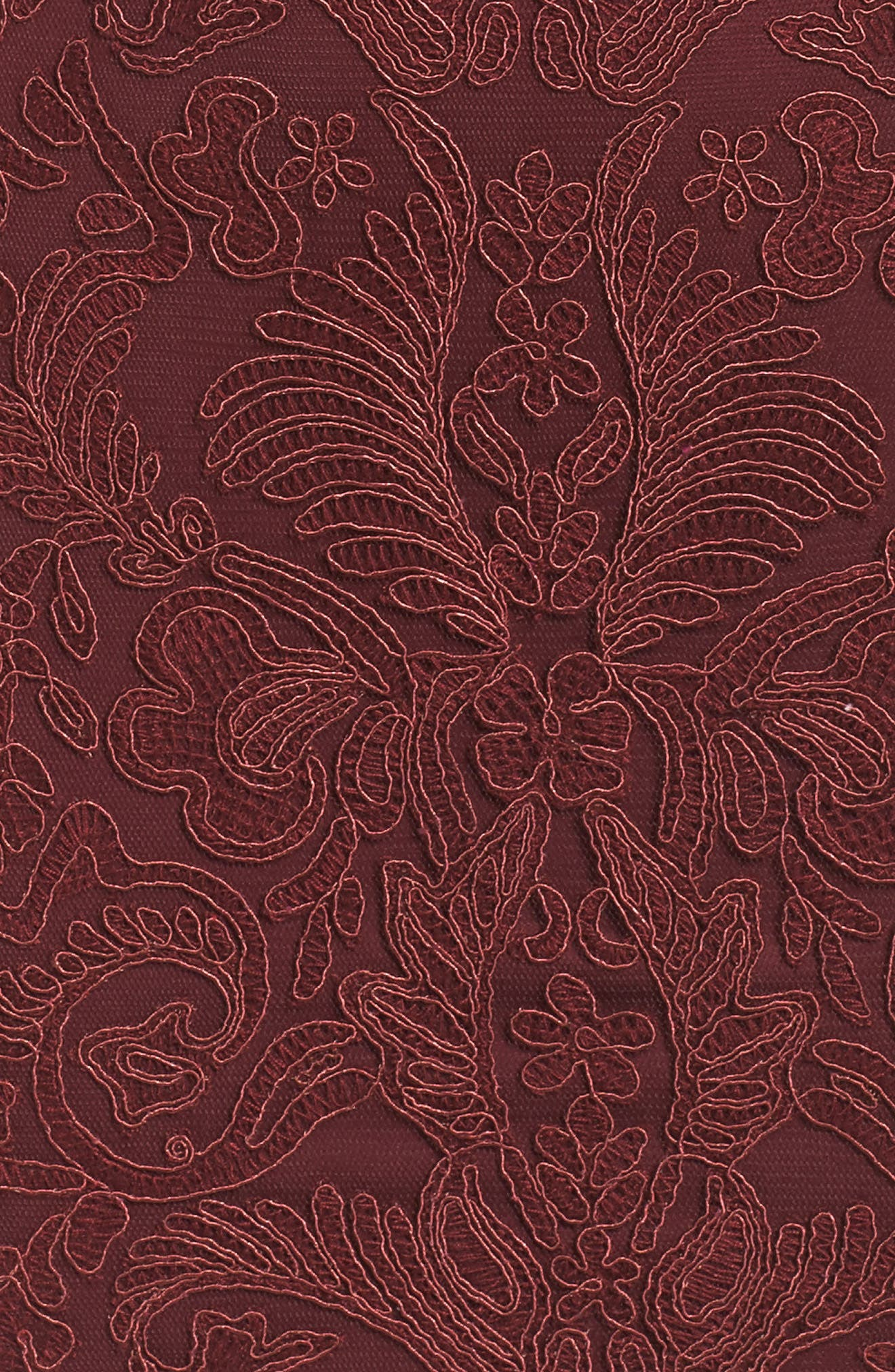 Mock Neck Corded Tulle Sheath Dress,                             Alternate thumbnail 5, color,                             Auburn