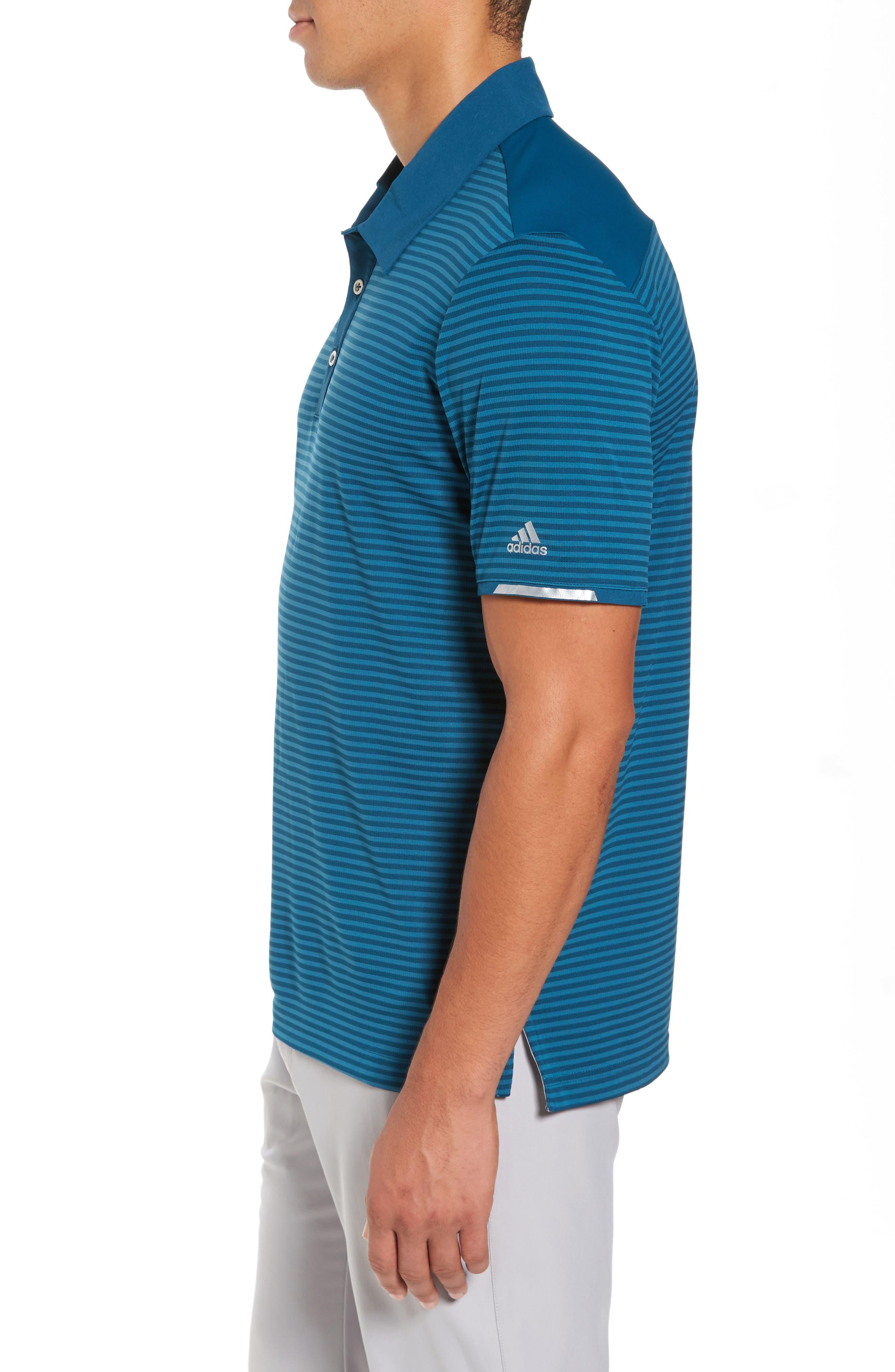 Climachill<sup>®</sup> Stripe Golf Polo,                             Alternate thumbnail 3, color,                             Blue