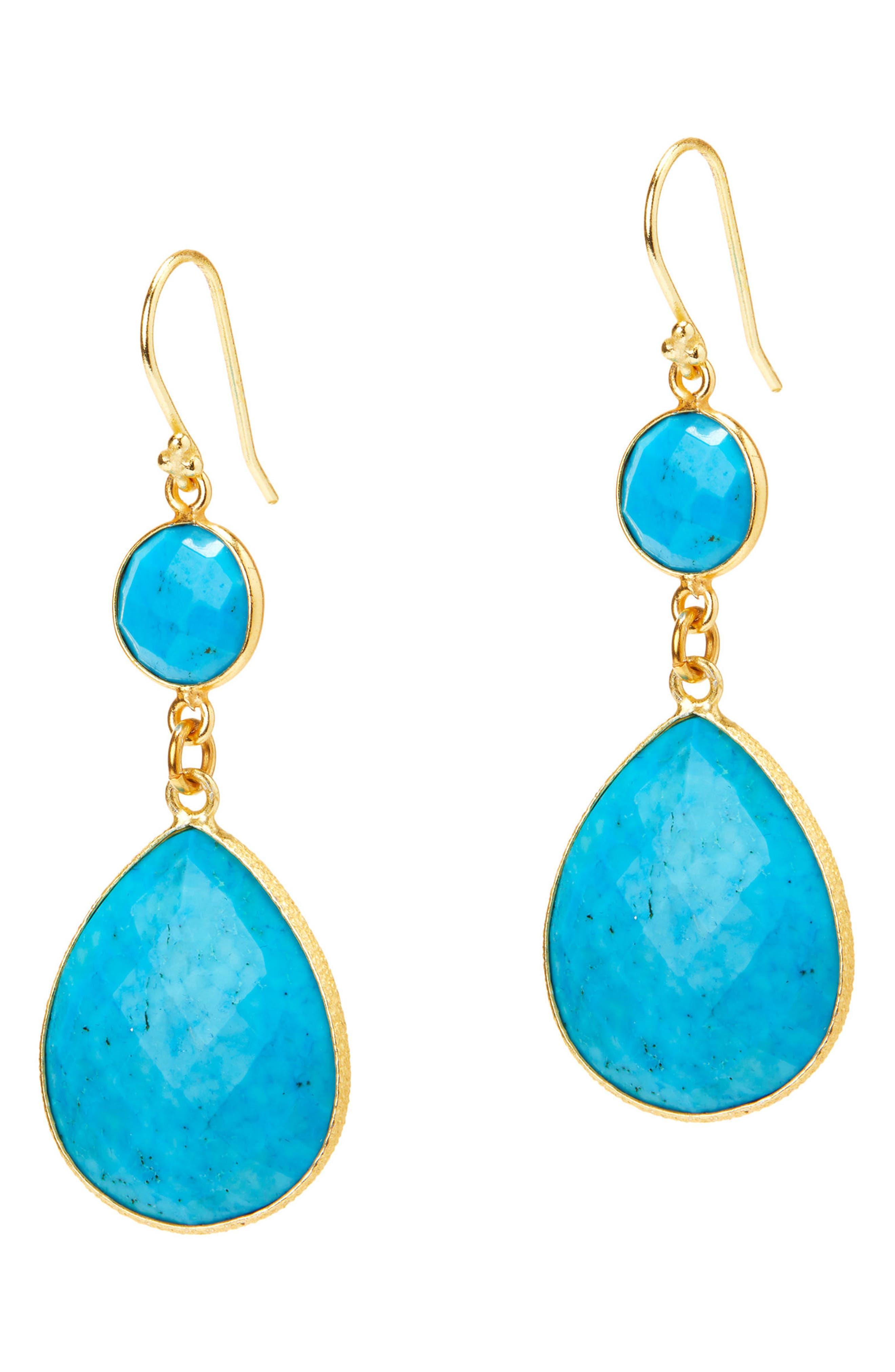 Plumeria Double Drop Earrings,                         Main,                         color, Turquoise