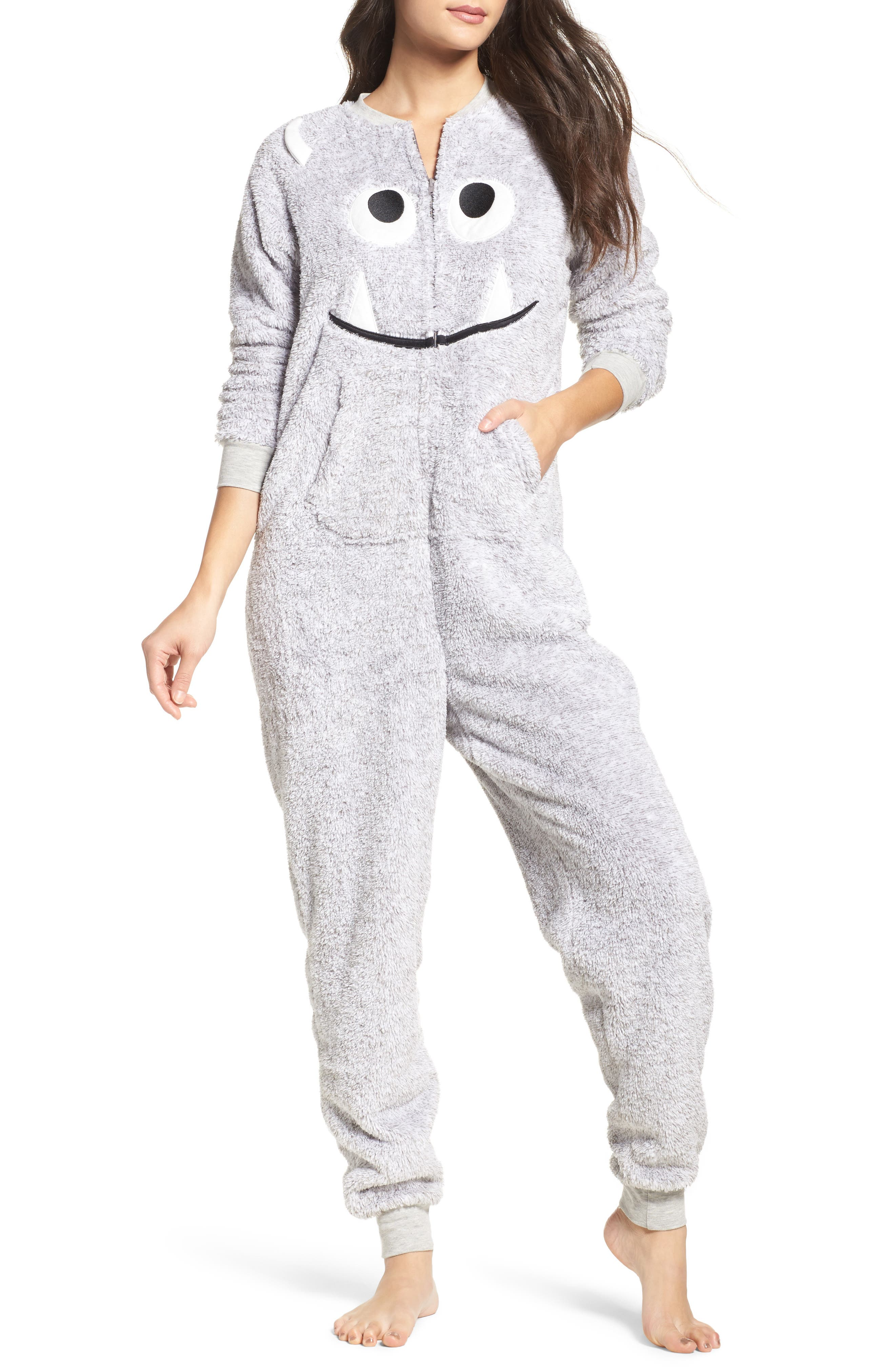 Pajama Jumpsuit,                         Main,                         color, Heather Grey