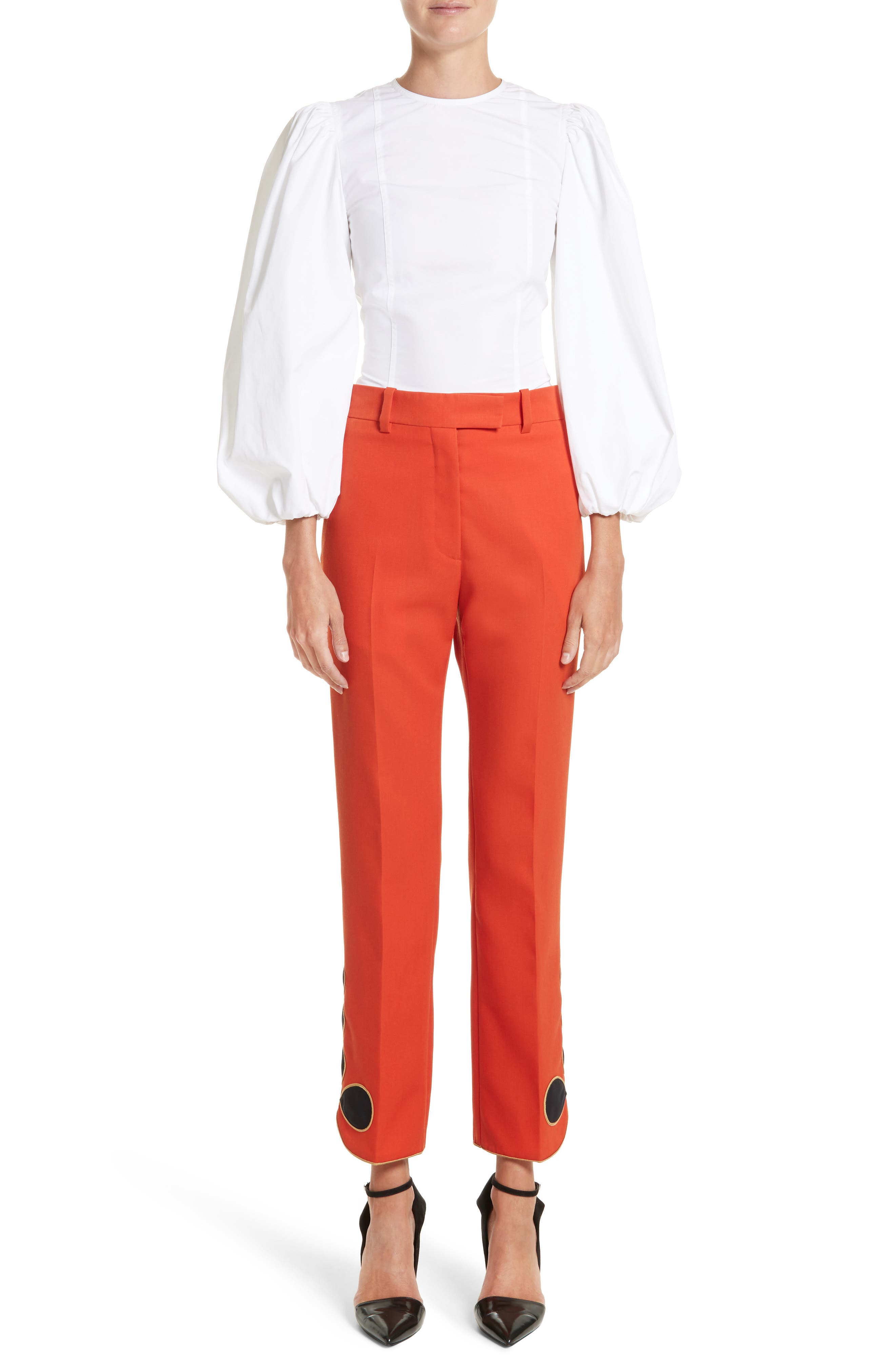 Alternate Image 6  - Calvin Klein 205W39NYC Embroidered Hem Wool Gabardine Pants