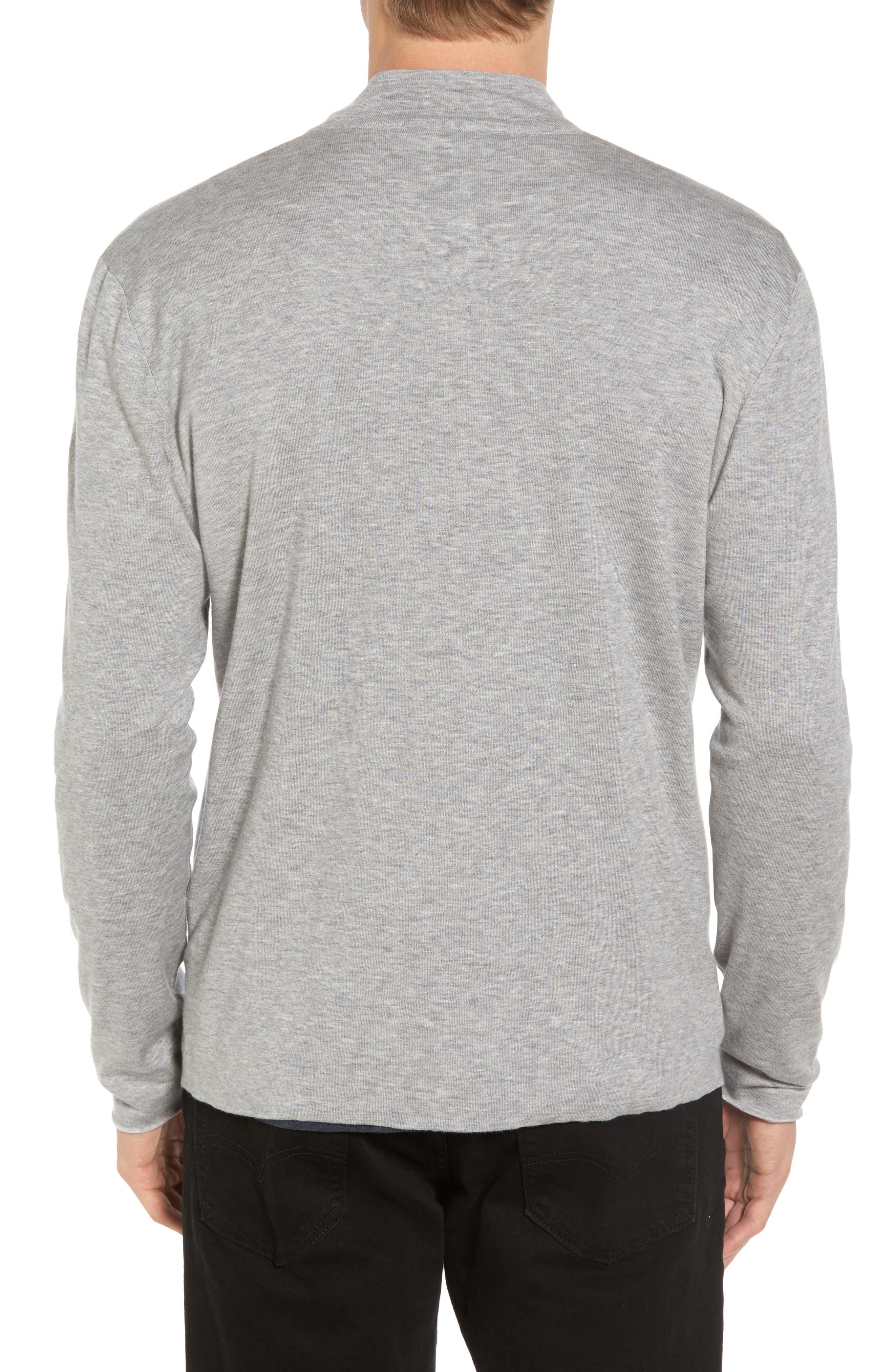 Mock Neck Zip Sweatshirt,                             Alternate thumbnail 2, color,                             Heather Grey/ Platinum