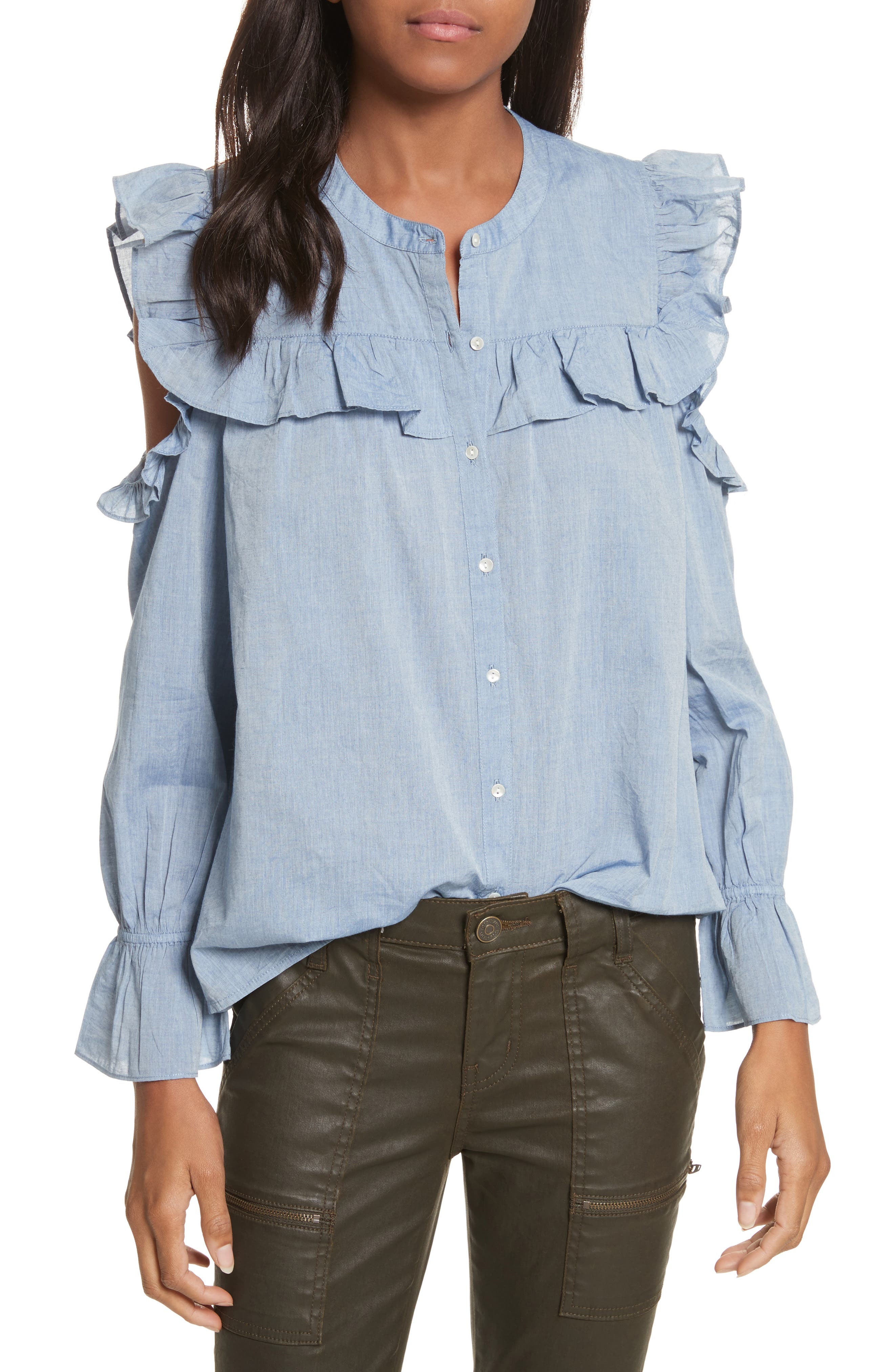 Akari Cold Shoulder Top,                             Main thumbnail 1, color,                             Chambray