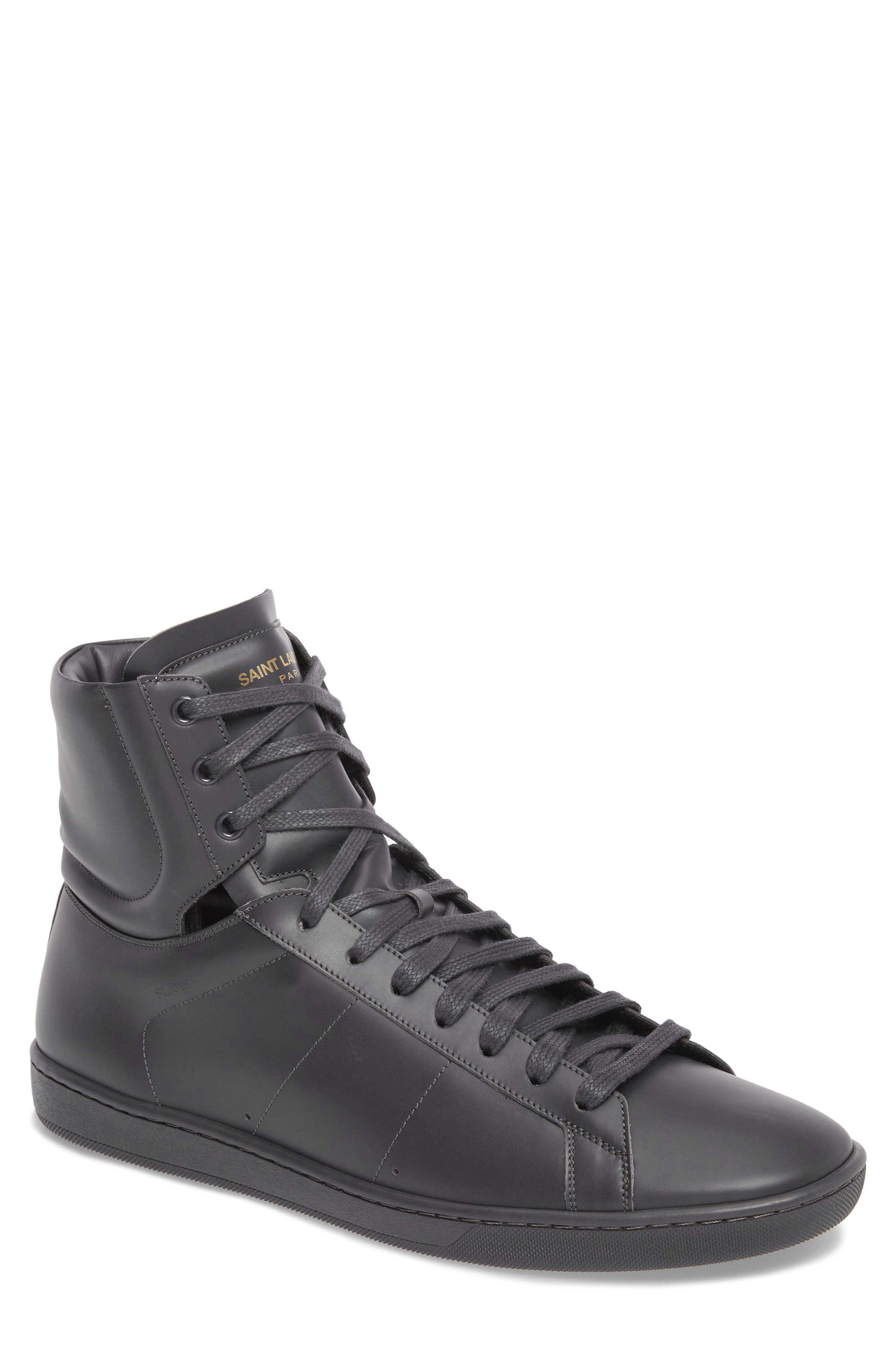Signature Court Classic Sneaker,                             Main thumbnail 1, color,                             Grey Leather