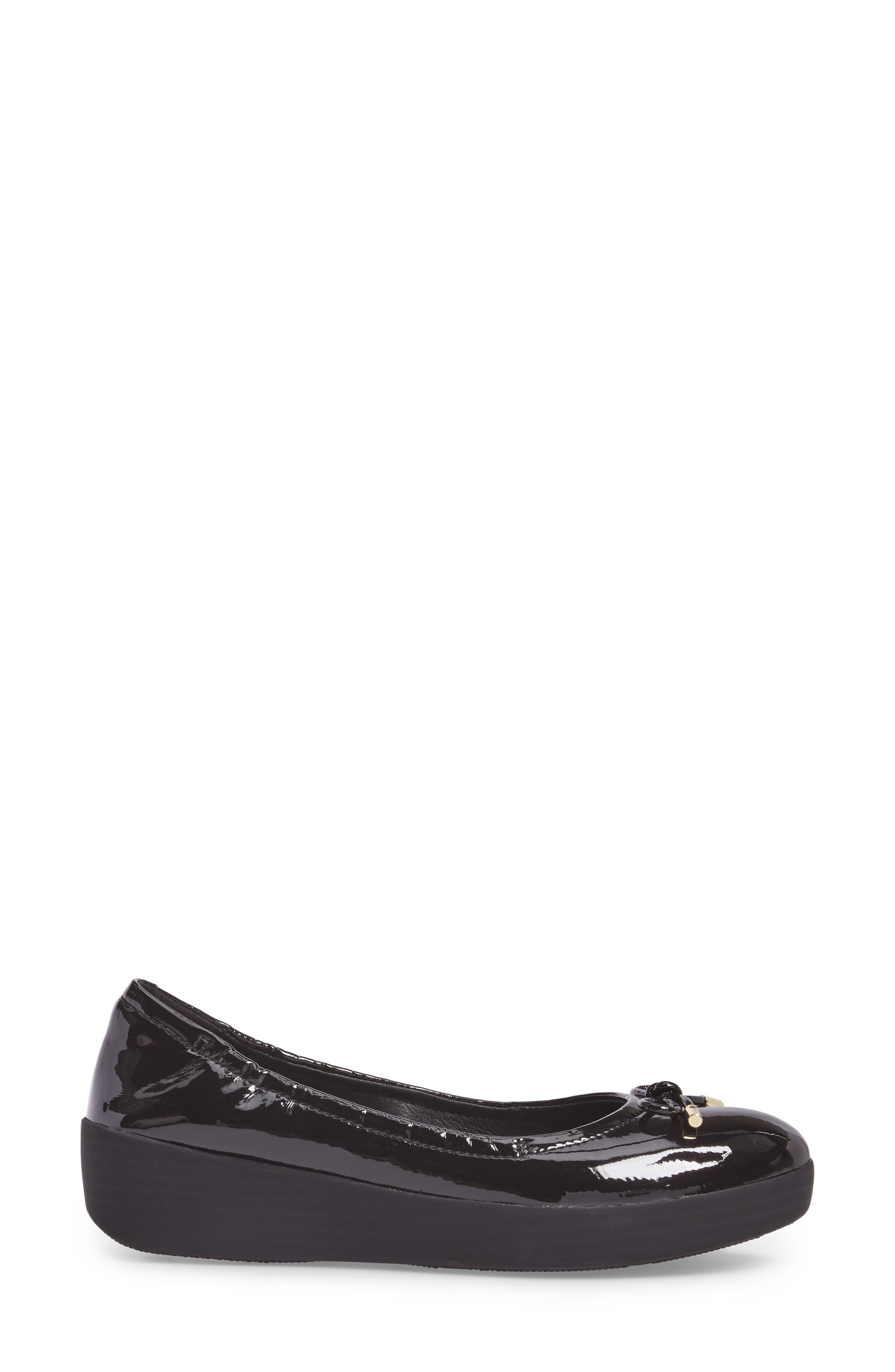 SuperBendy<sup>™</sup> Ballet Flat,                             Alternate thumbnail 3, color,                             Black Faux Patent