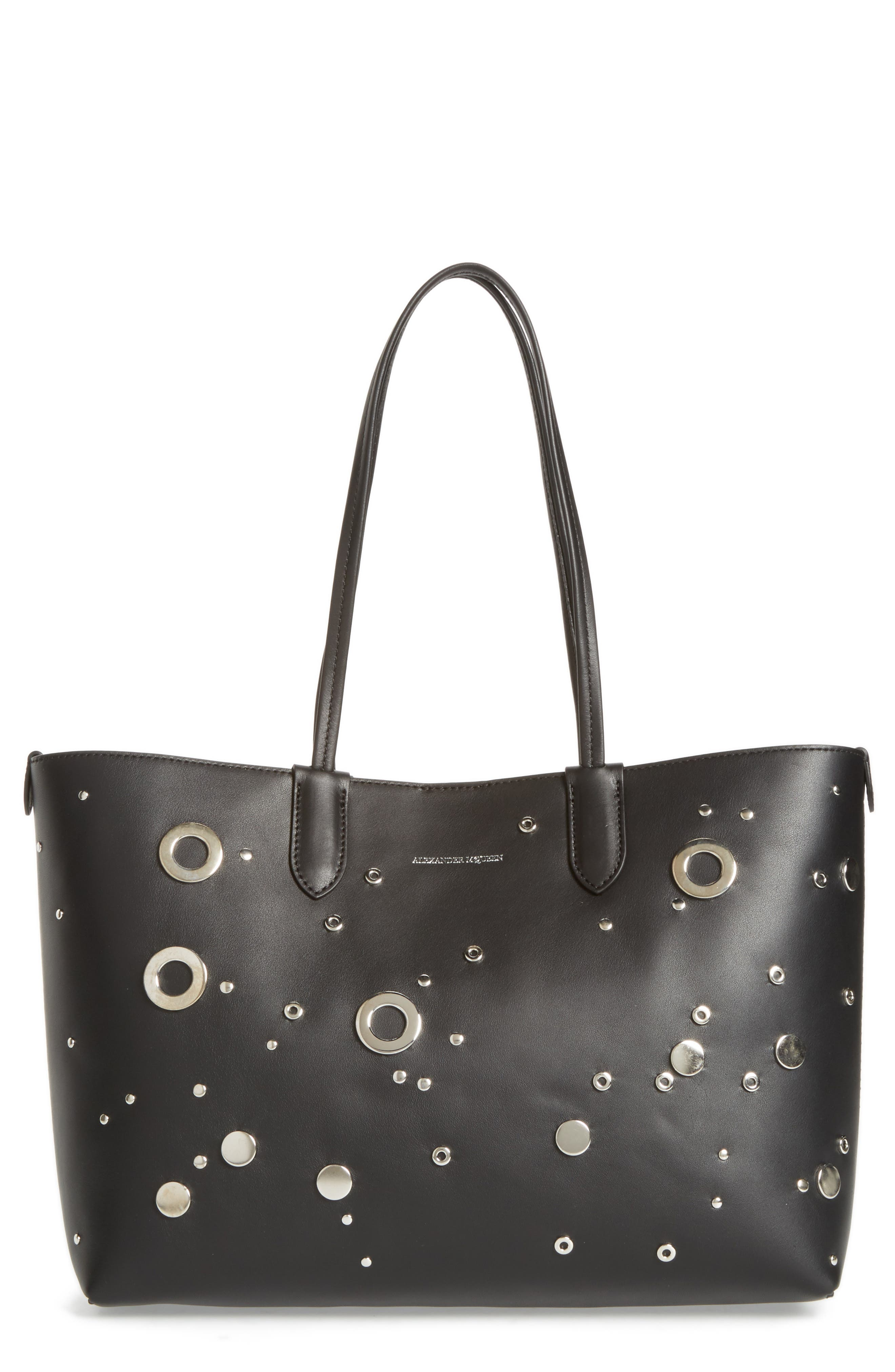 Studded Small Leather Shopper,                             Main thumbnail 1, color,                             Black