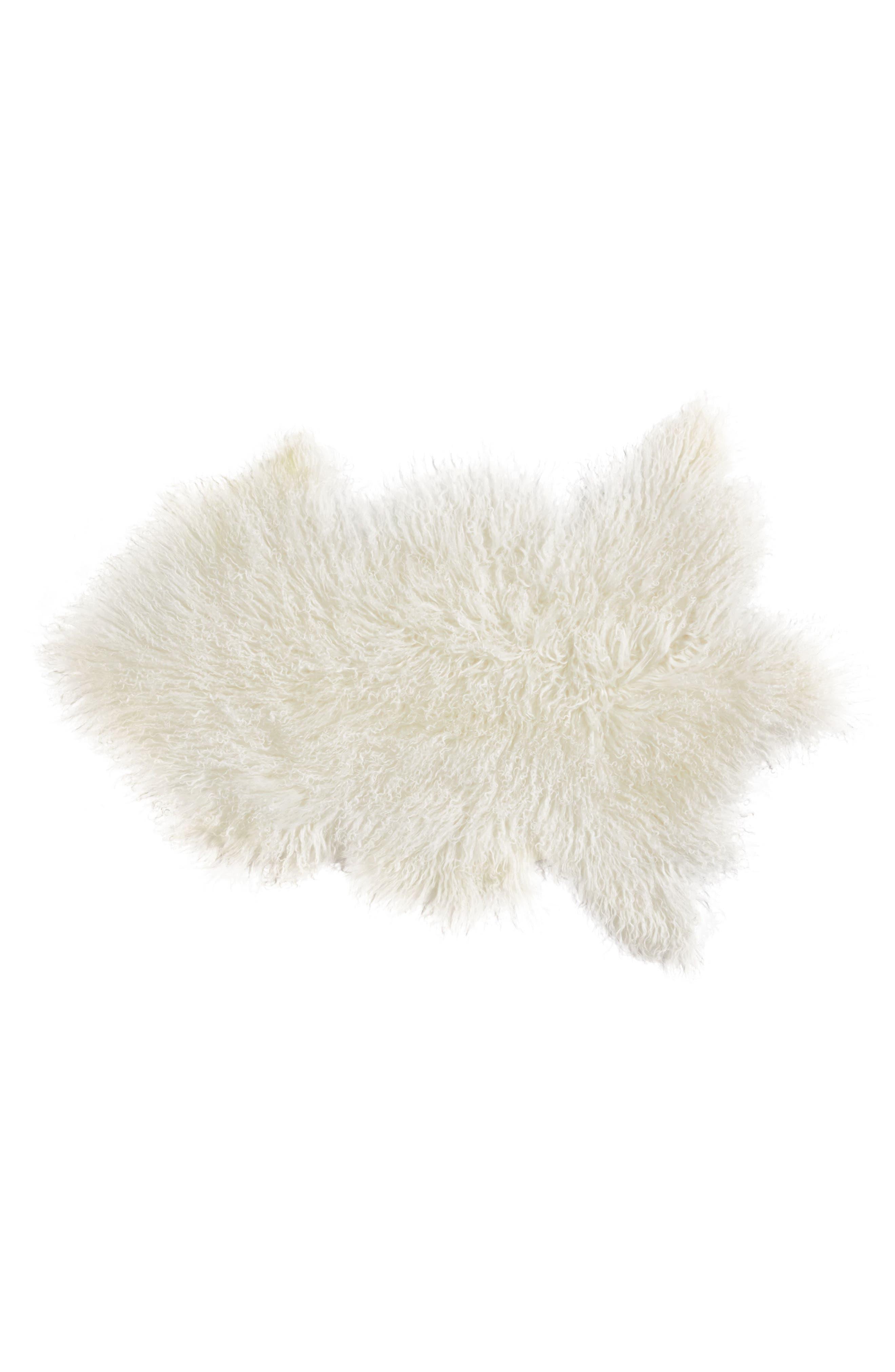 Genuine Sheepskin Freeform Rug,                         Main,                         color, White