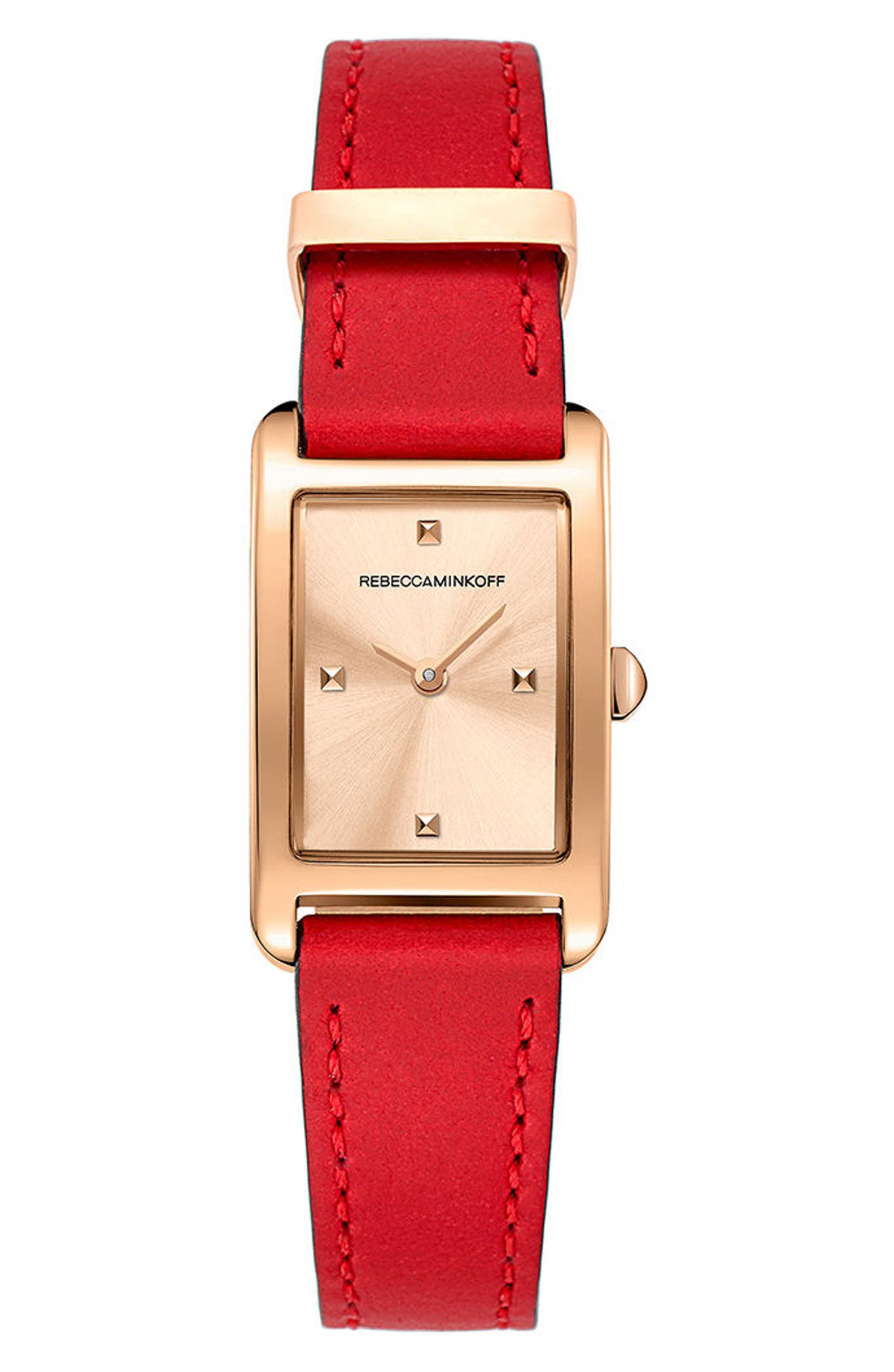 Moment Leather Strap Watch, 19mm x 30mm,                             Main thumbnail 1, color,                             Red/ Rose Gold