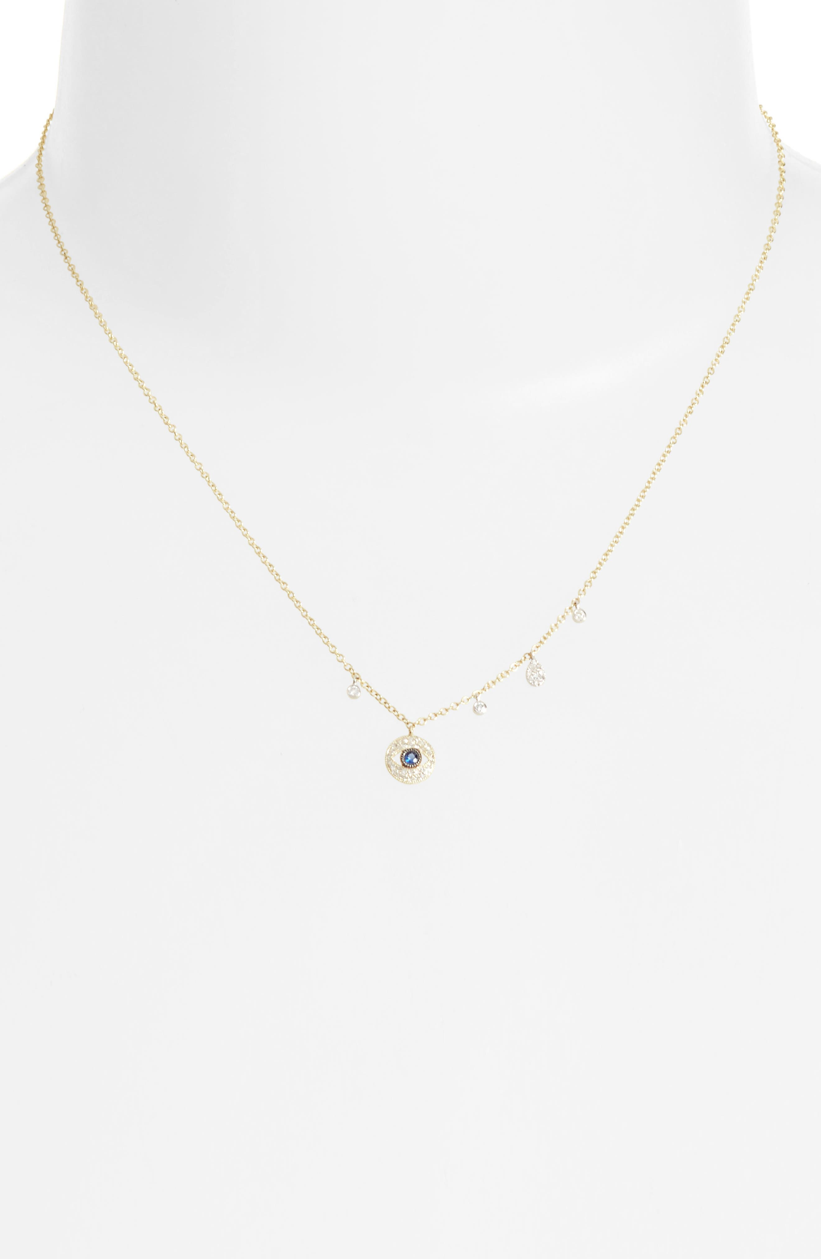 Meira T Diamond & Sapphire Evil Eye Pendant Necklace
