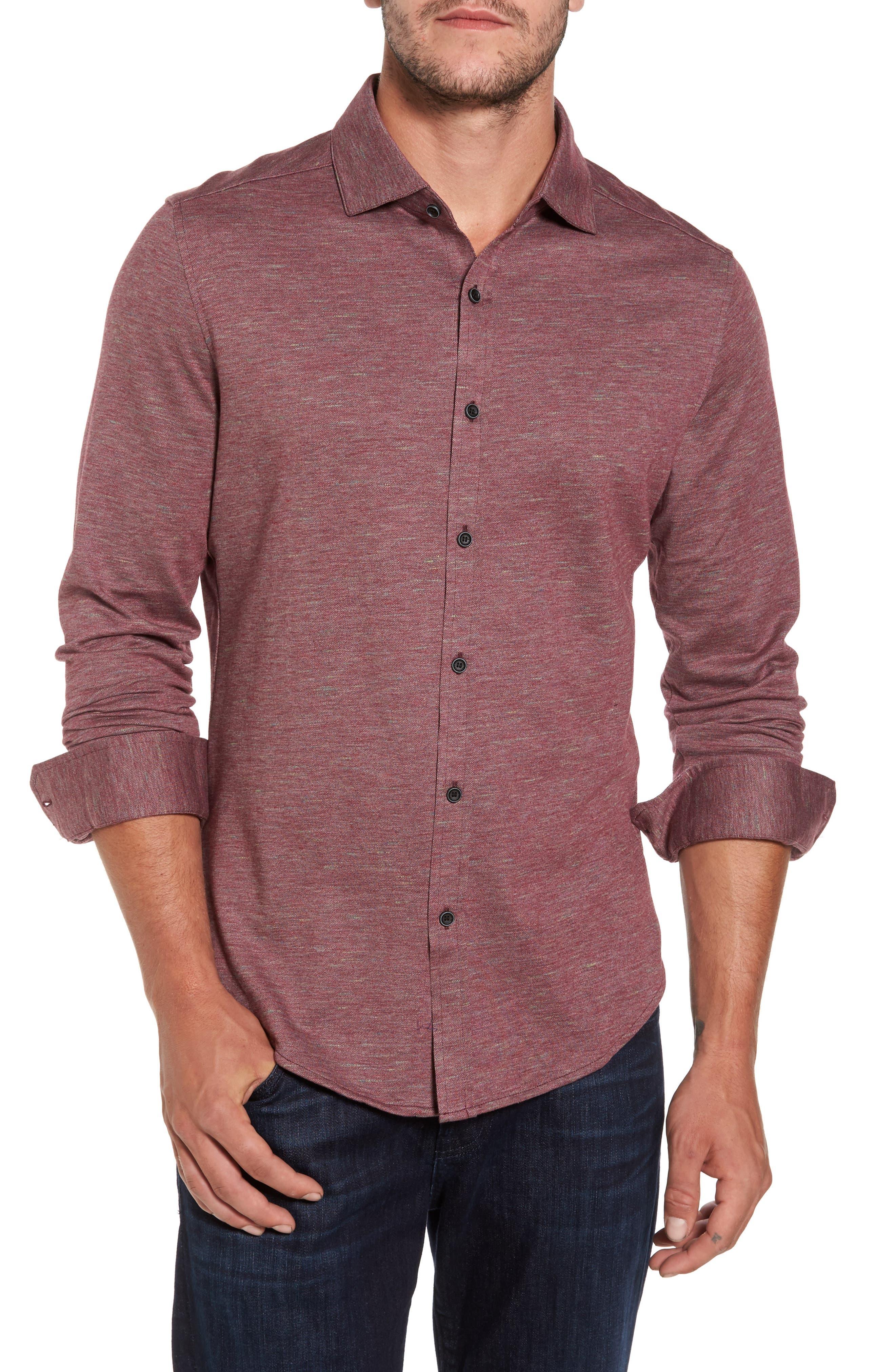 Alternate Image 1 Selected - Bugatchi Regular Fit Piqué Knit Sport Shirt