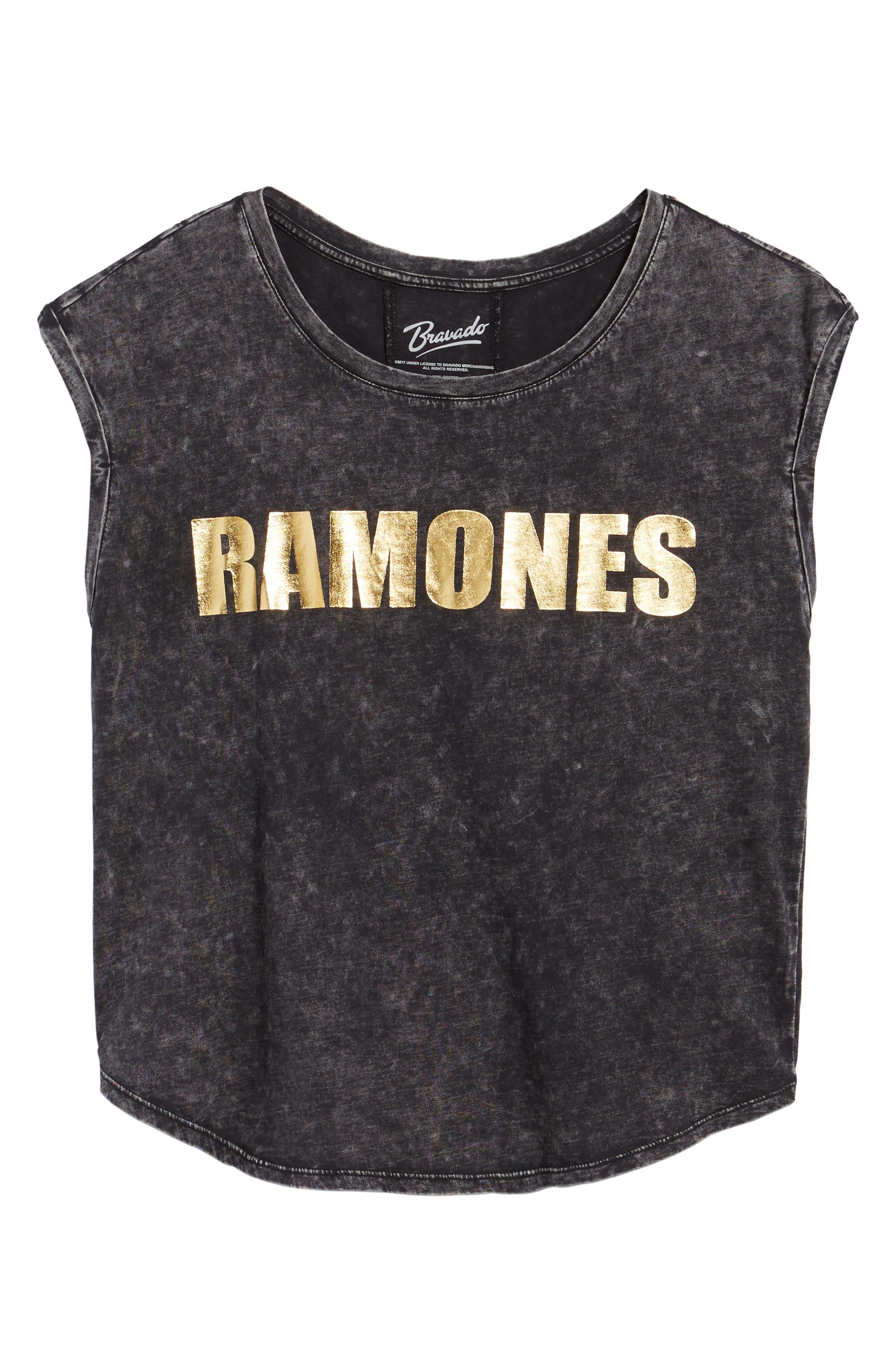 Ramones Stonewashed Tee,                             Alternate thumbnail 6, color,                             Black