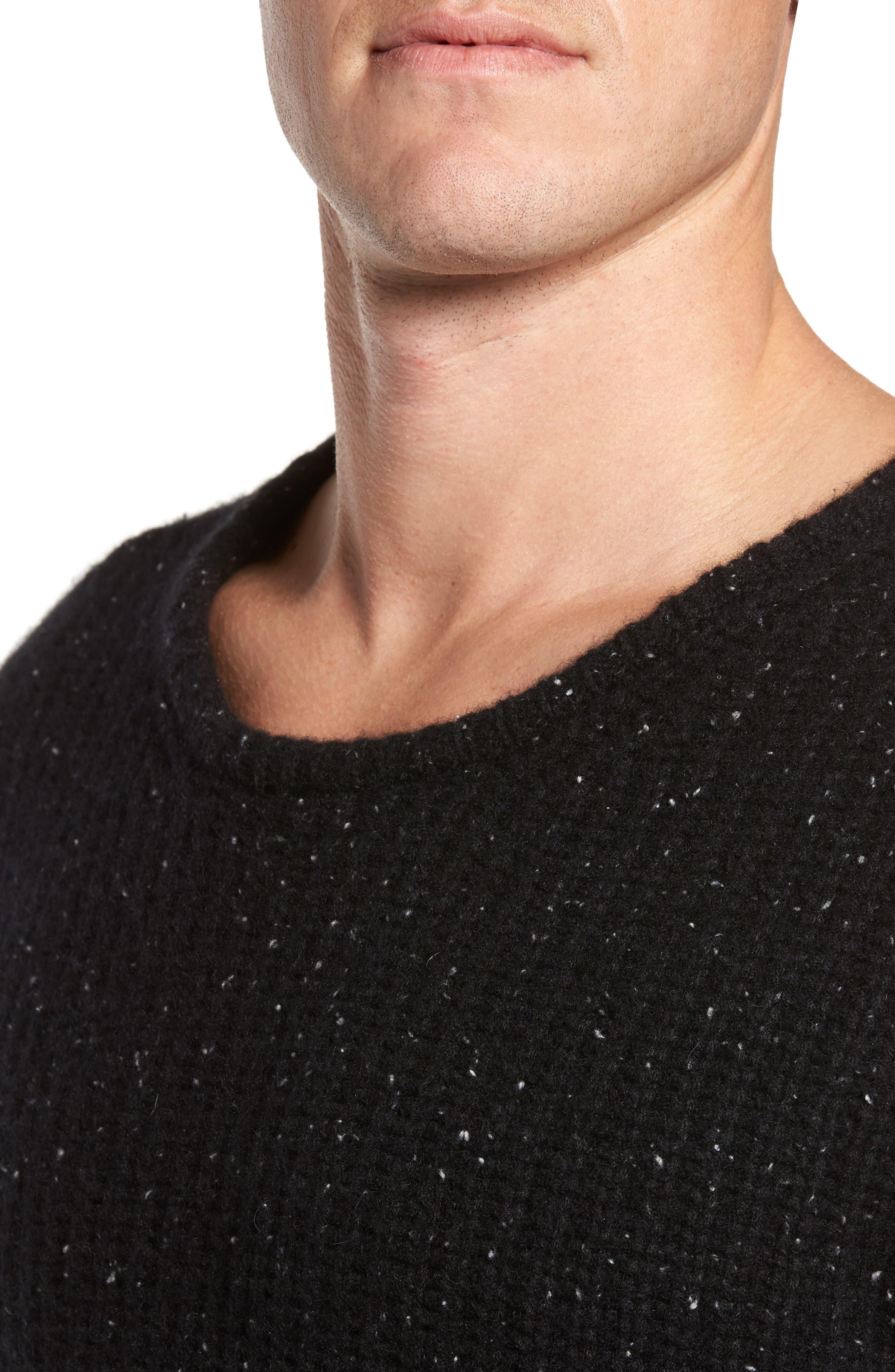 Oversize Cashmere Sweater,                             Alternate thumbnail 4, color,                             Noir