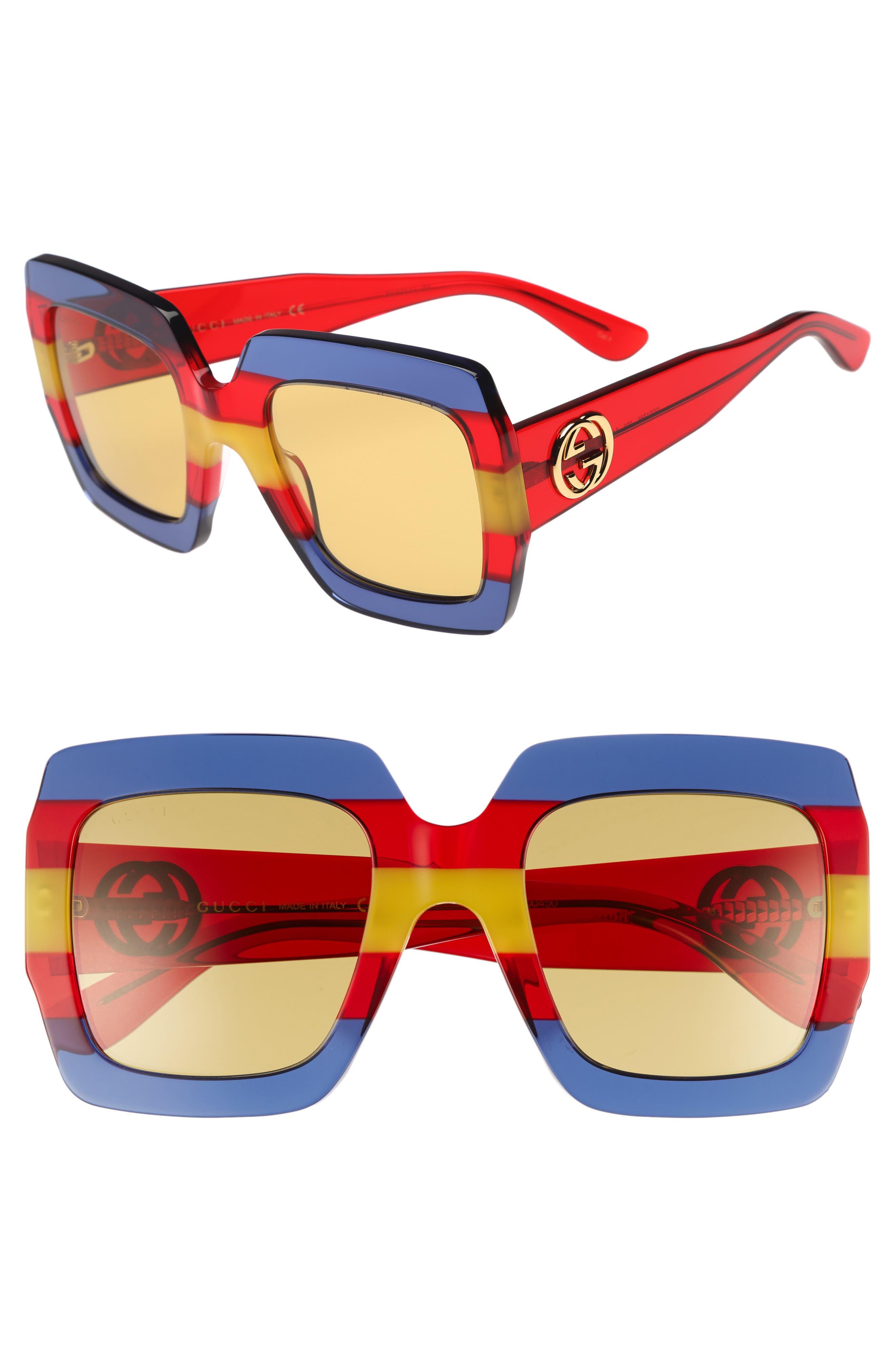 54mm Square Sunglasses,                             Main thumbnail 1, color,                             Multi/ Blue