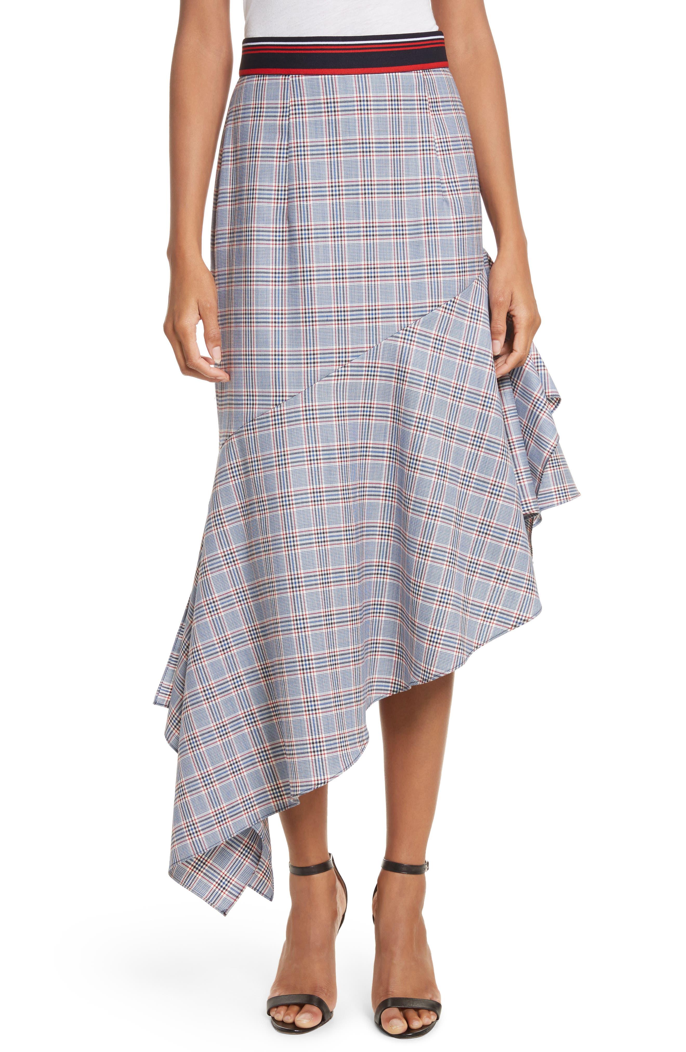 Asymmetrical Ruffle Hem Skirt,                             Main thumbnail 1, color,                             Multi