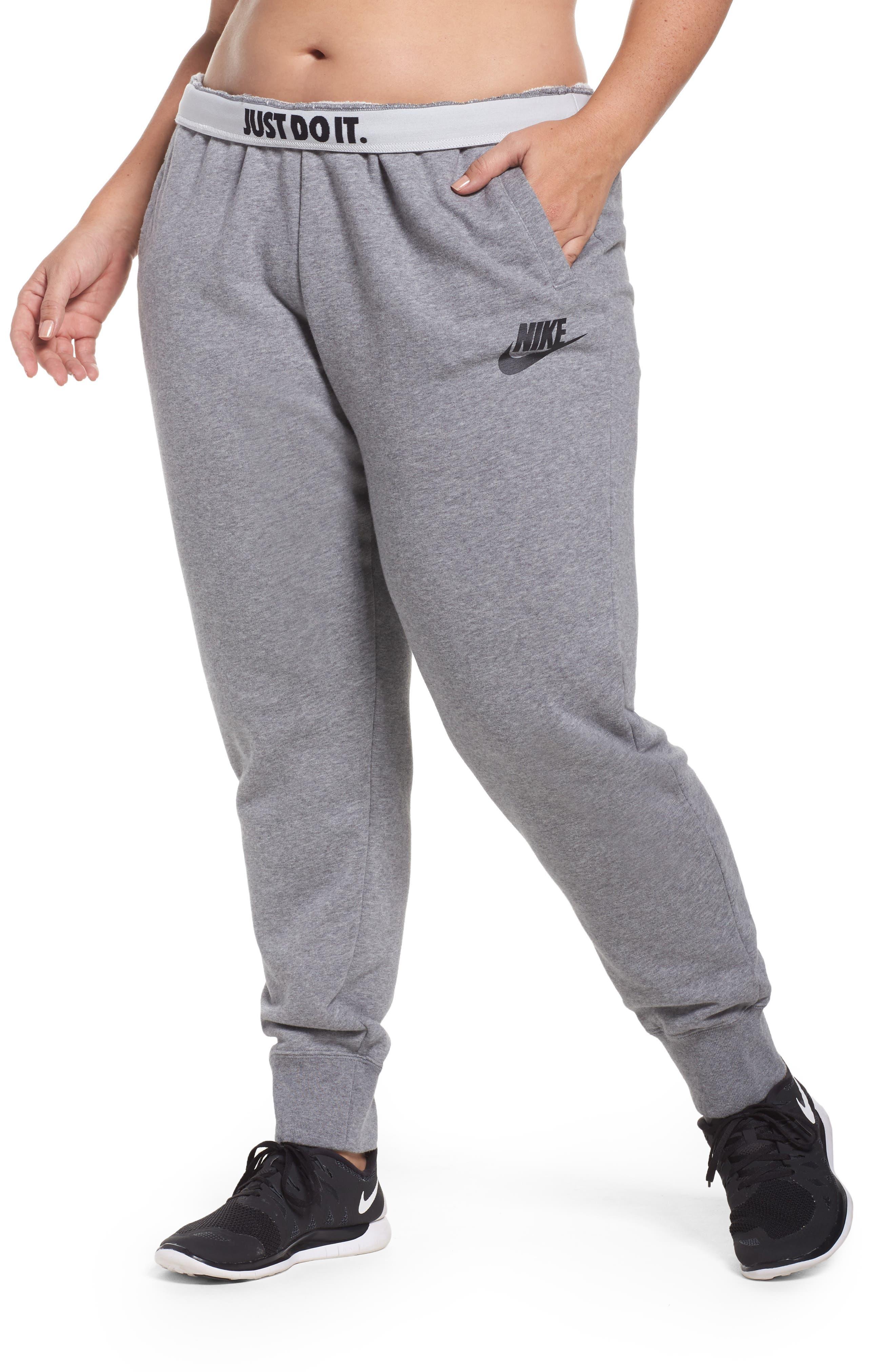 Alternate Image 1 Selected - Nike Drawstring Fleece Pants (Plus Size)