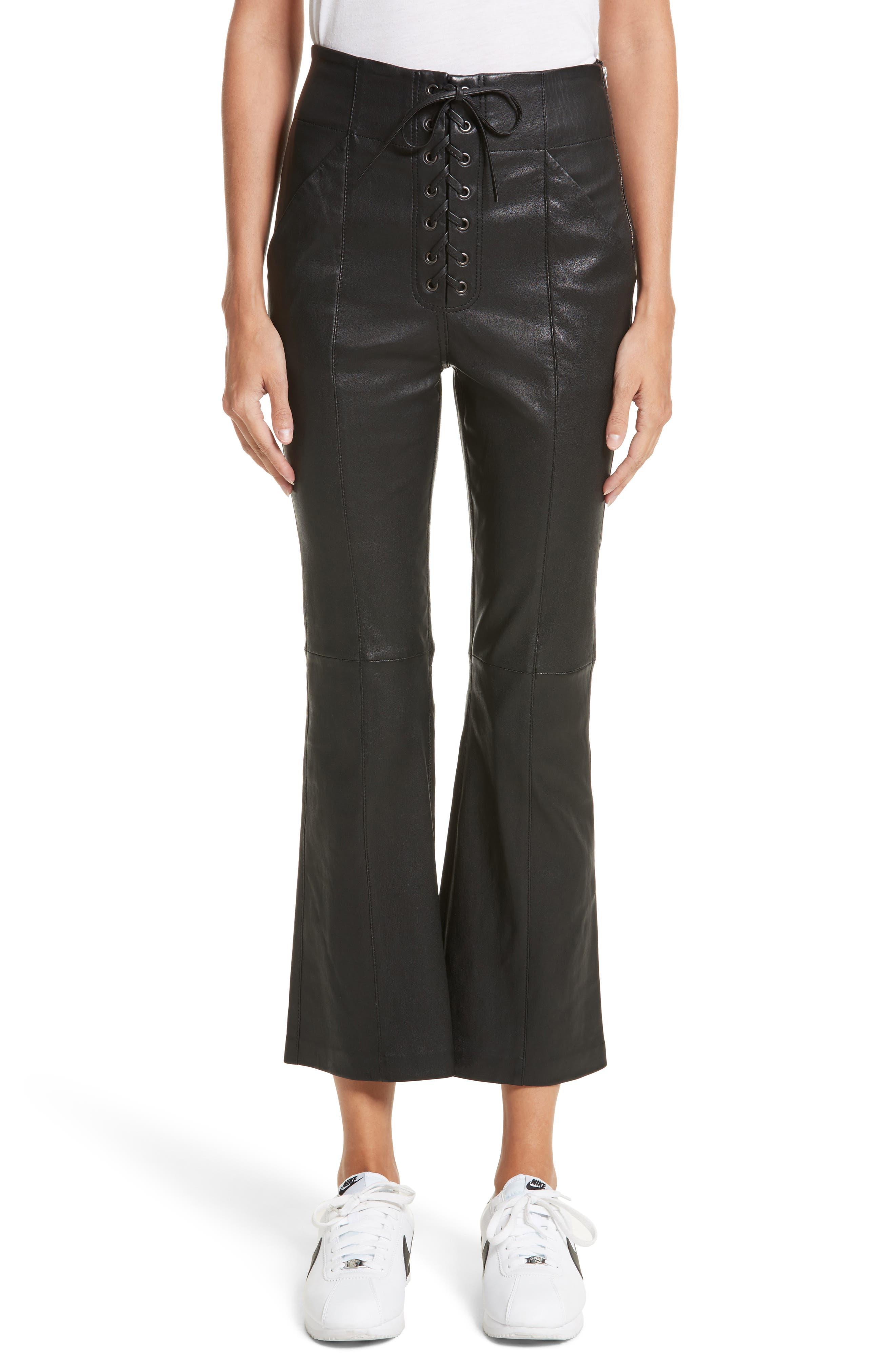 Delia Lace Up Leather Pants,                         Main,                         color, Black