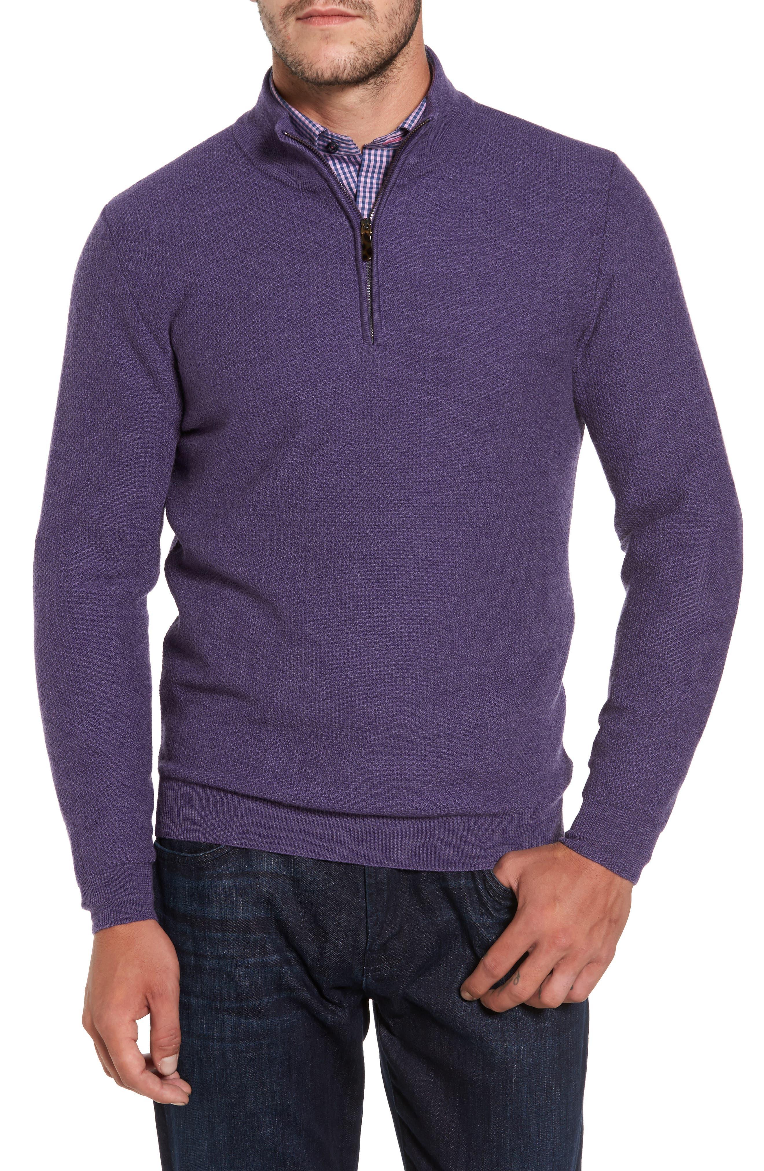David Donahue Honeycomb Quarter Zip Sweater