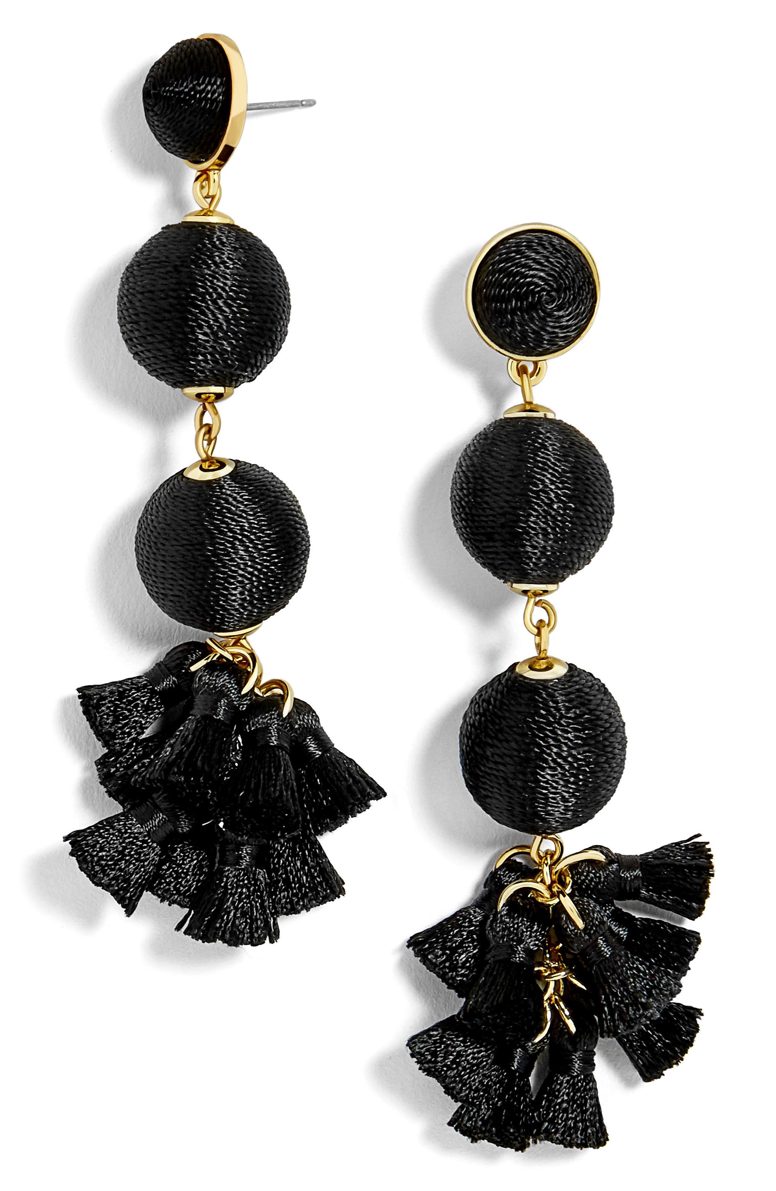 Tango Ball Drop Earrings,                             Main thumbnail 1, color,                             Black