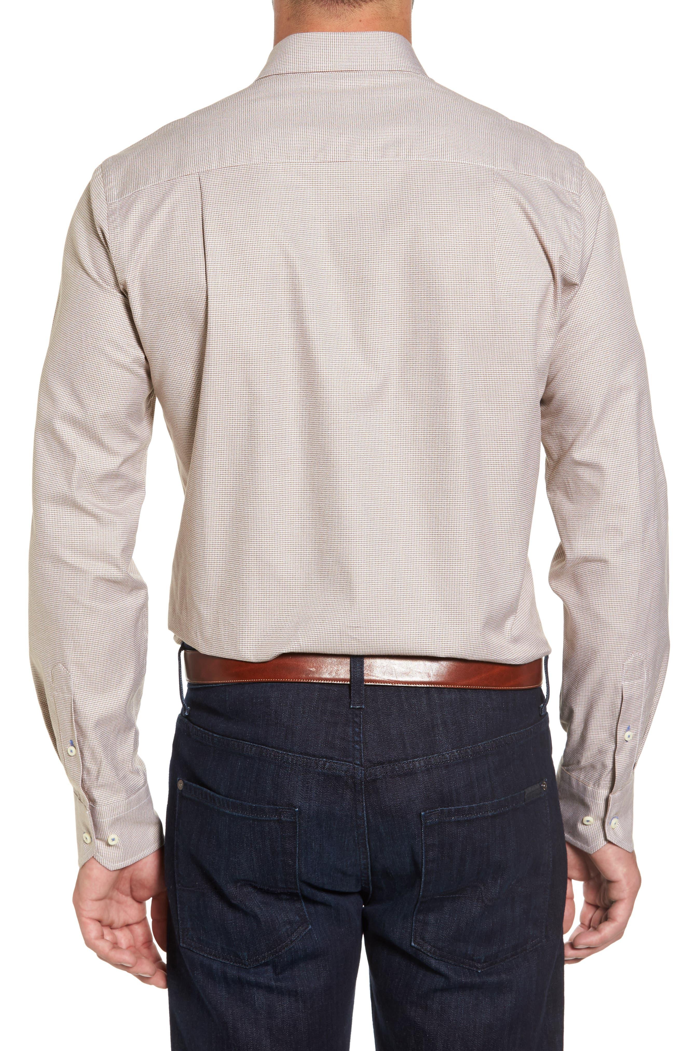 Micro Houndstooth Sport Shirt,                             Alternate thumbnail 2, color,                             Dune