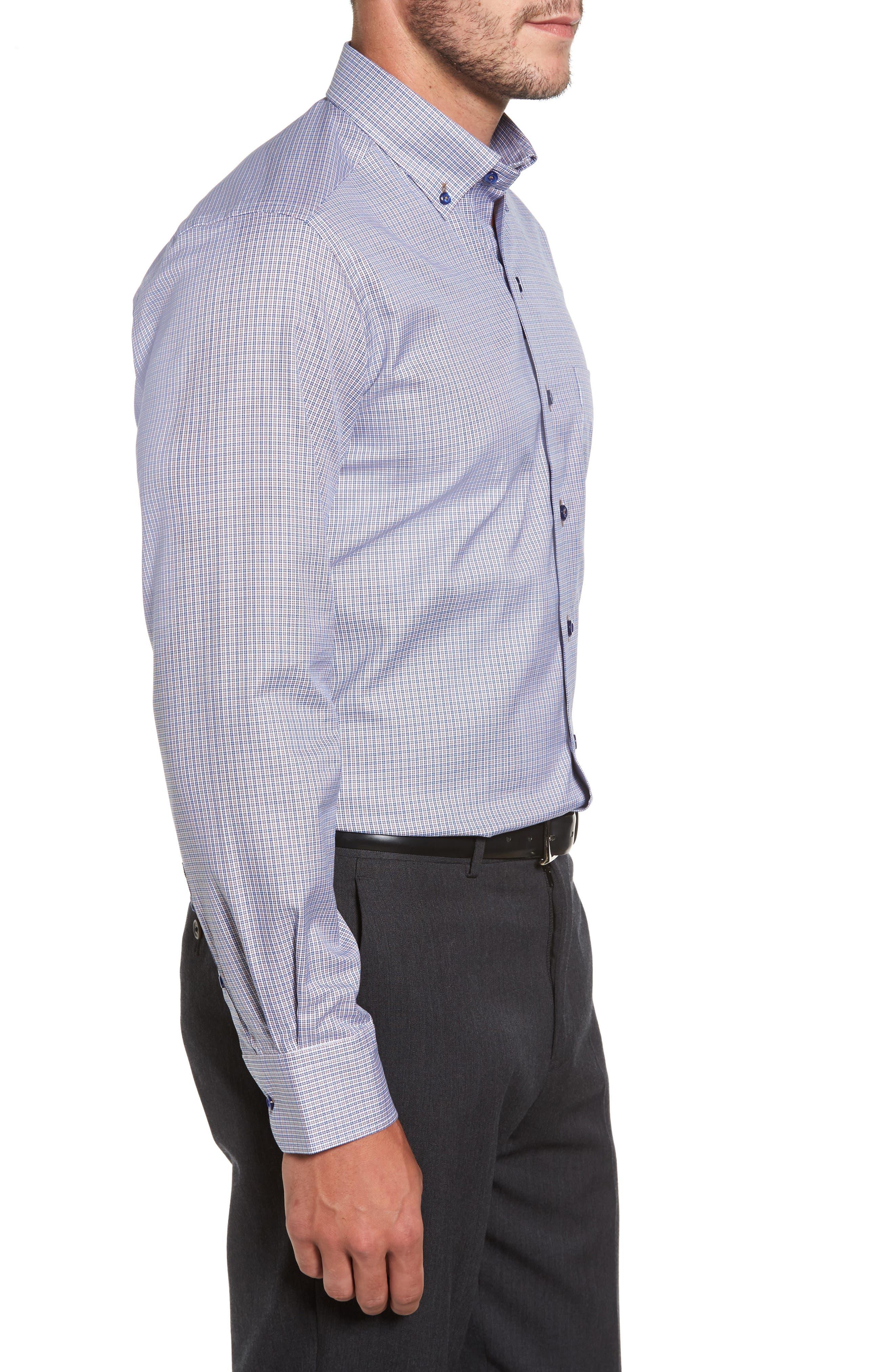 Microcheck Sport Shirt,                             Alternate thumbnail 3, color,                             Navy/ Chocolate