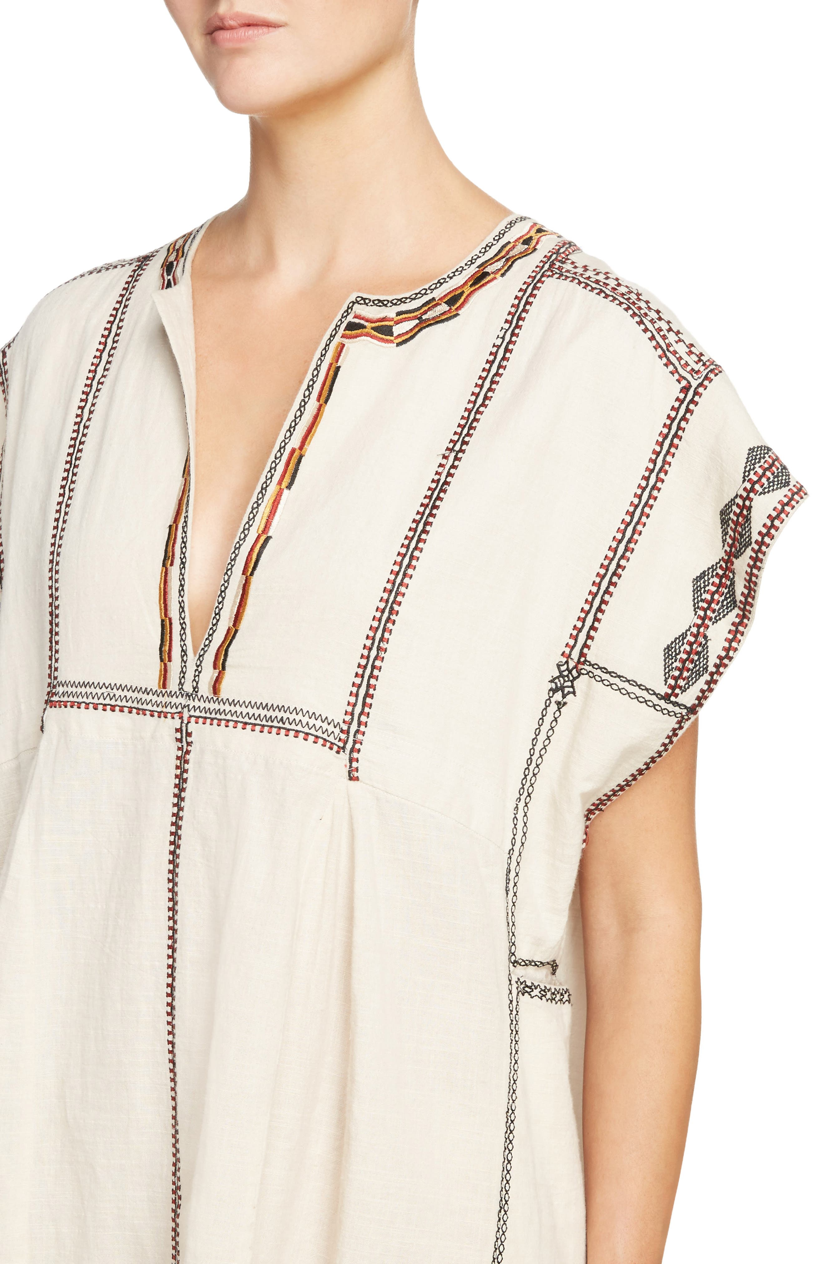 Isabel Marant Étoile Belissa Embroidered Shift Dress,                             Alternate thumbnail 4, color,                             Beige
