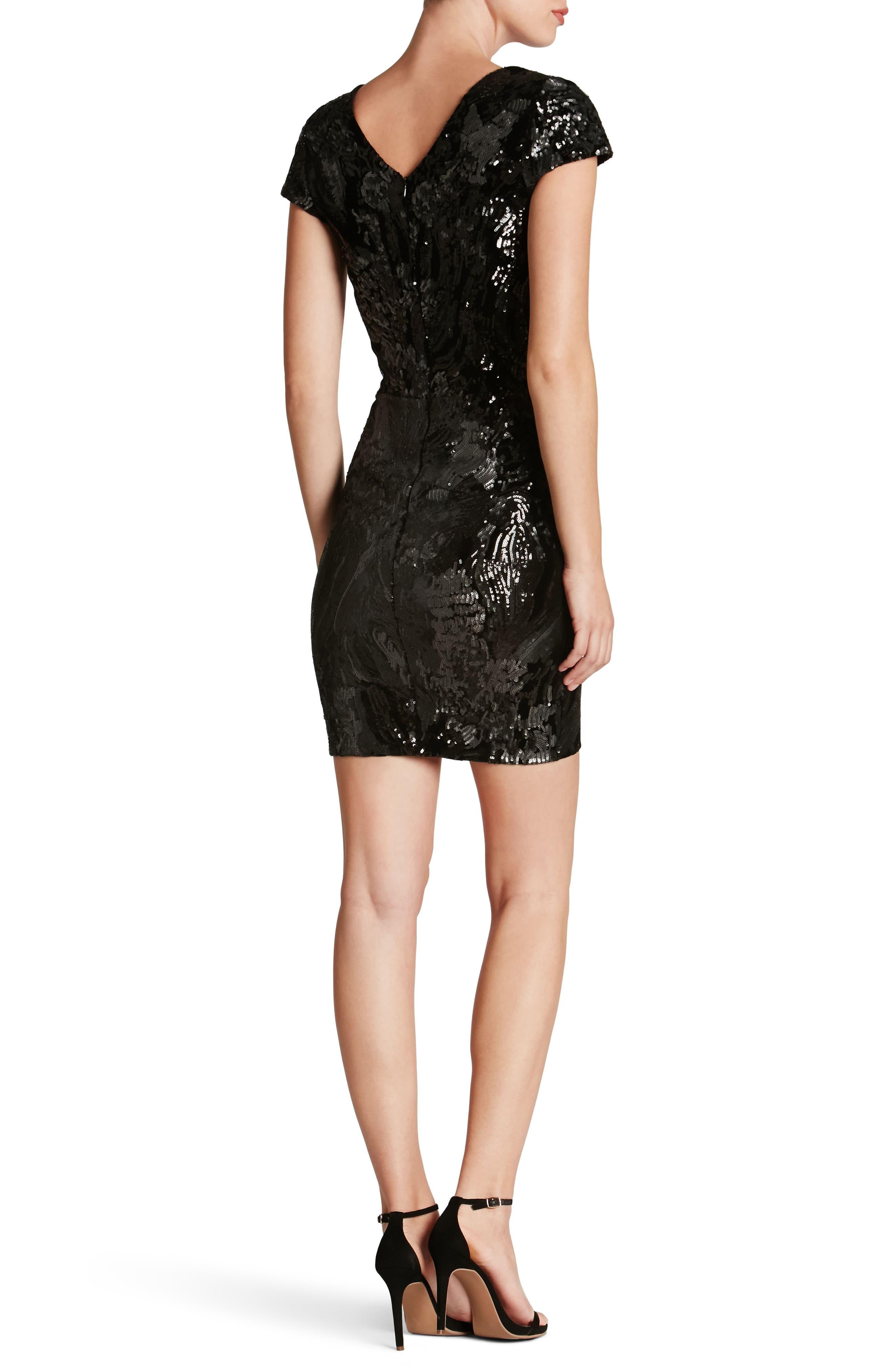 Zoe Plunge Sequin Velvet Body-Con Dress,                             Alternate thumbnail 2, color,                             Black/ Gunmetal