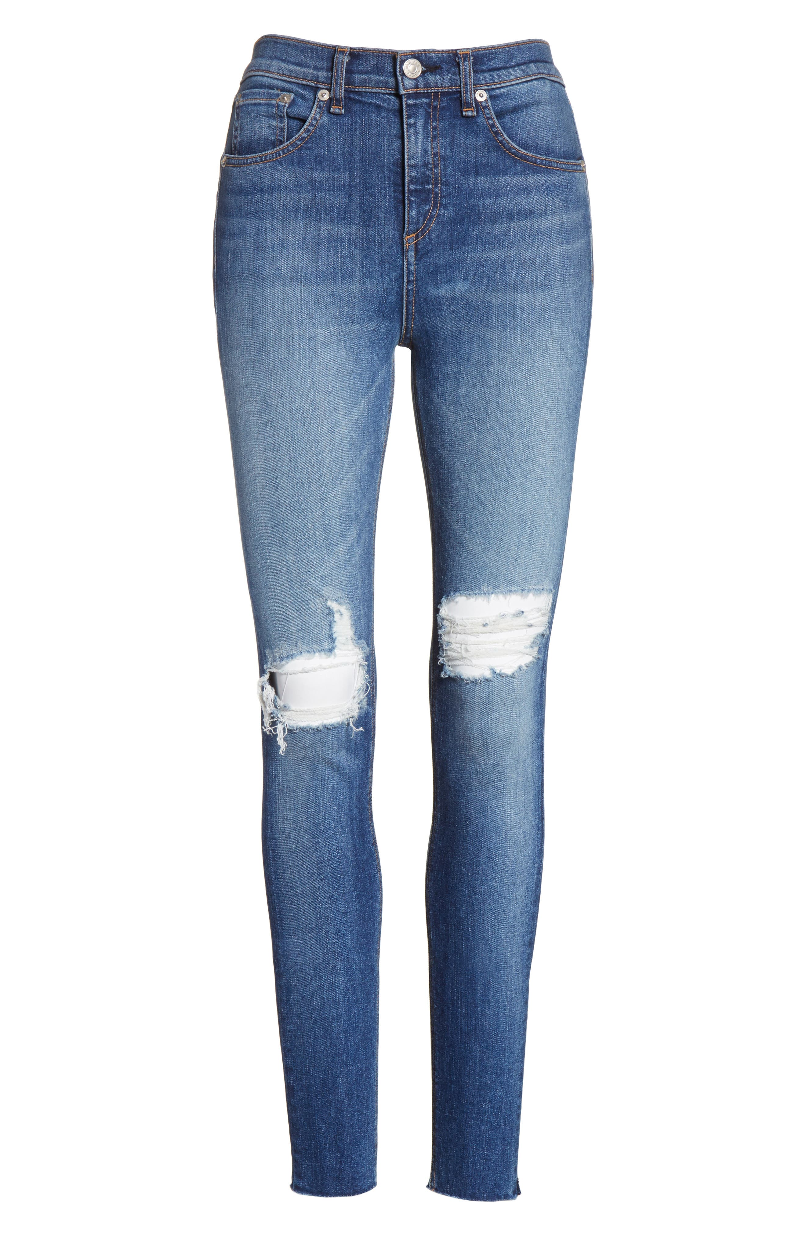 Ripped High Waist Skinny Jeans,                             Alternate thumbnail 6, color,                             Bonnie