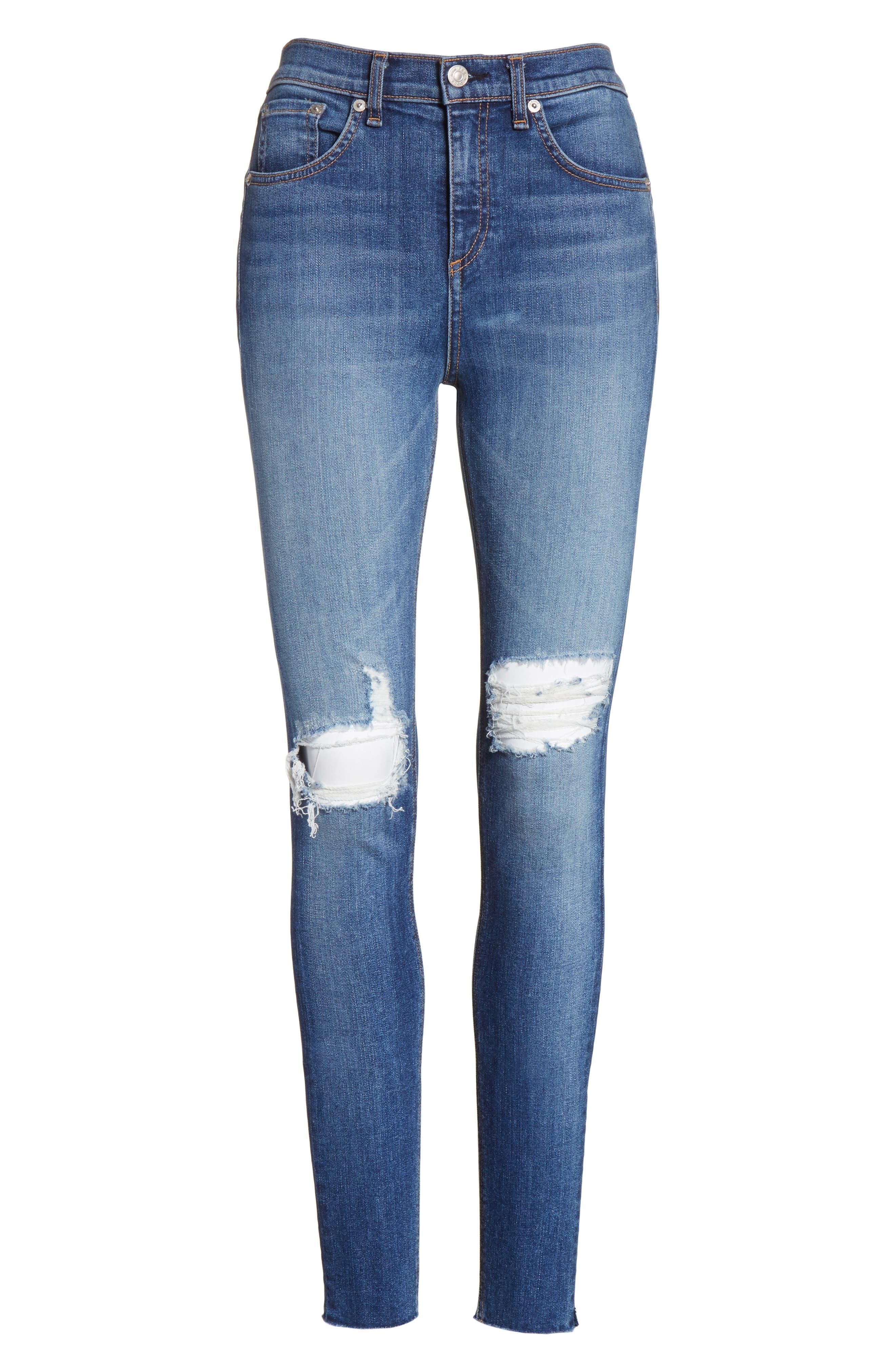 Alternate Image 6  - rag & bone/JEAN Ripped High Waist Skinny Jeans (Bonnie)