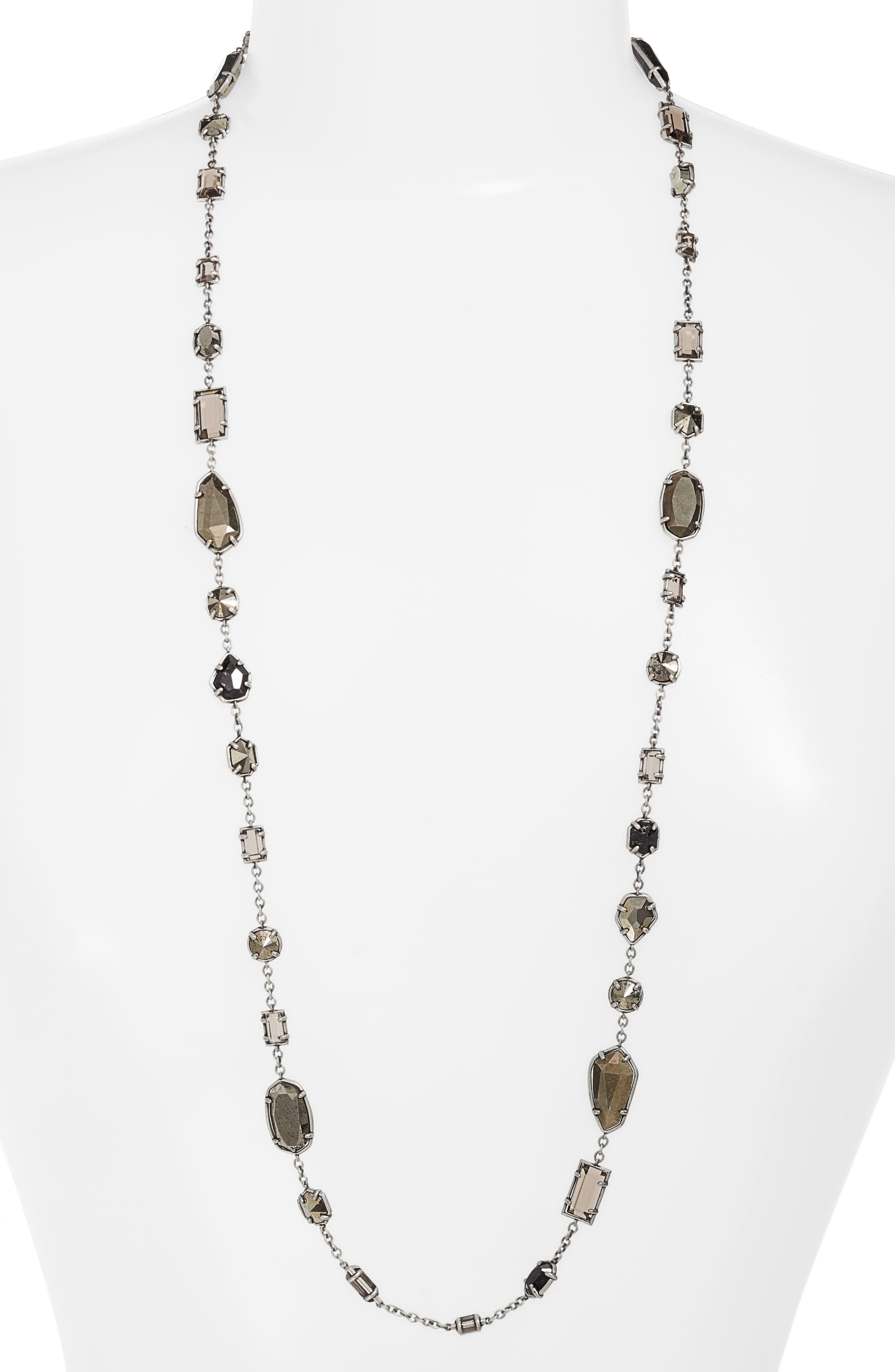 Joann Long Station Necklace,                             Main thumbnail 1, color,                             Smoky Mix/ Antique Silver
