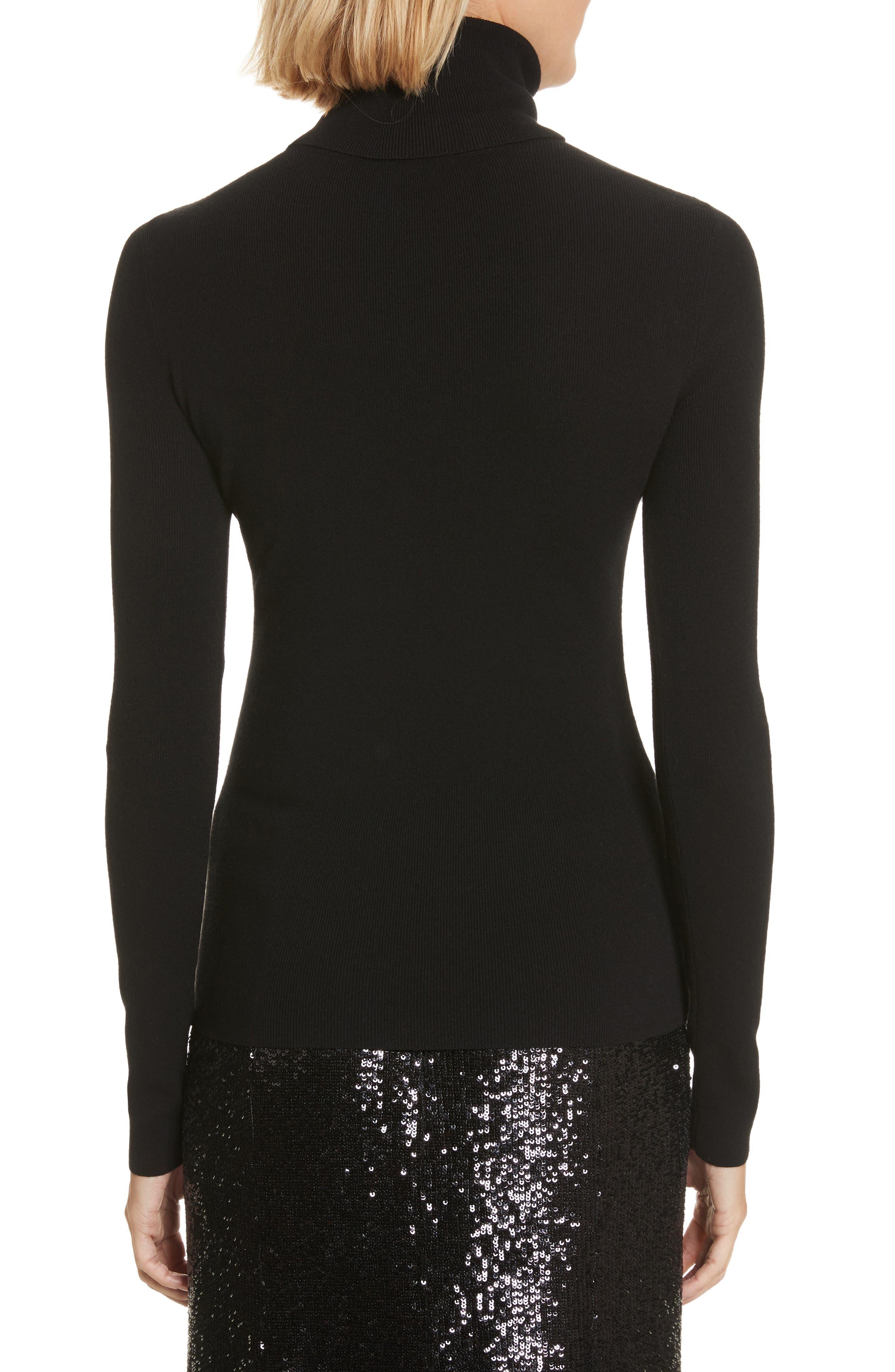 Camden Cutout Turtleneck Sweater,                             Alternate thumbnail 2, color,                             Black