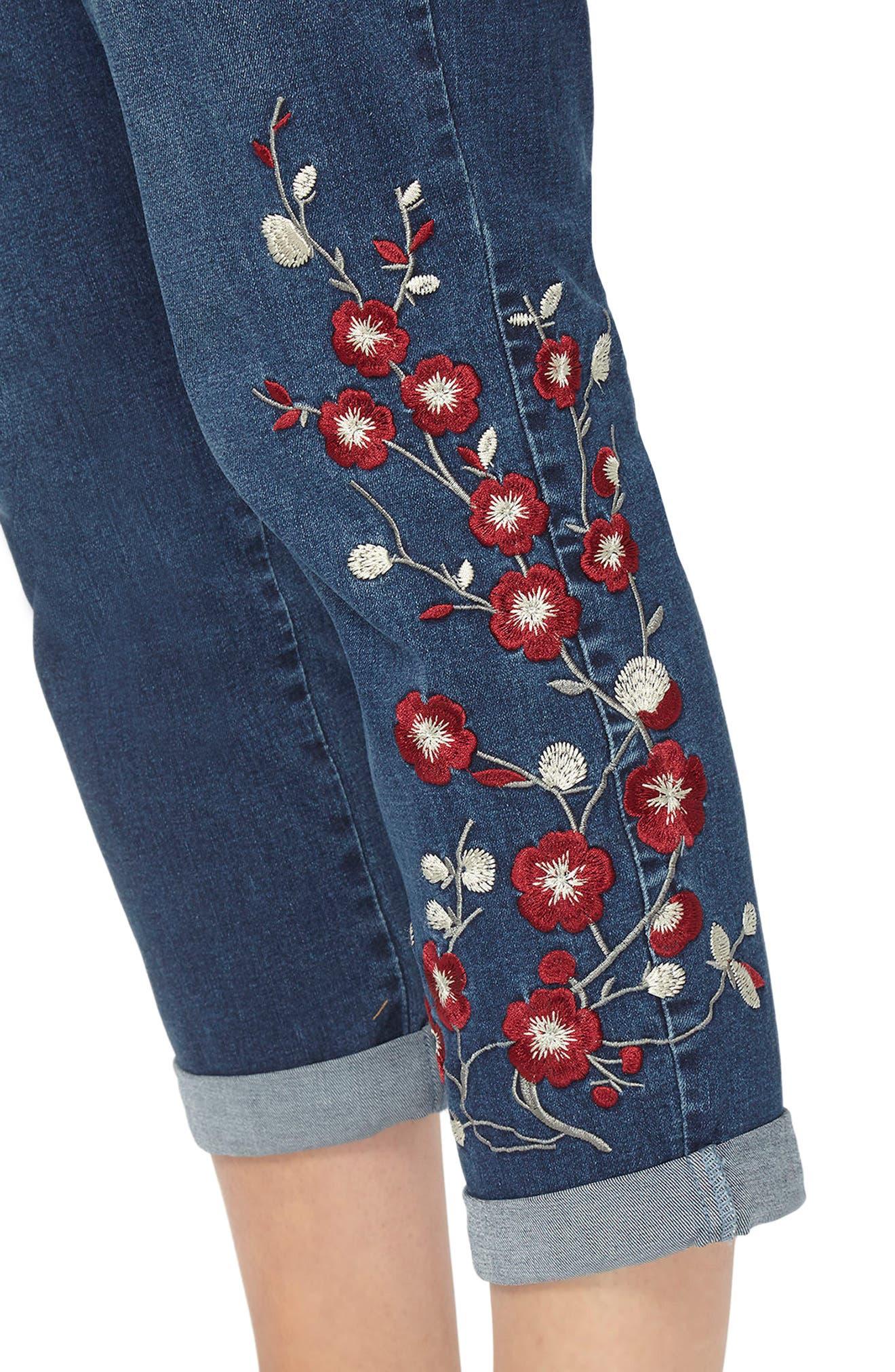 Alternate Image 4  - Evans Embroidered Crop Boyfriend Jeans (Plus Size)