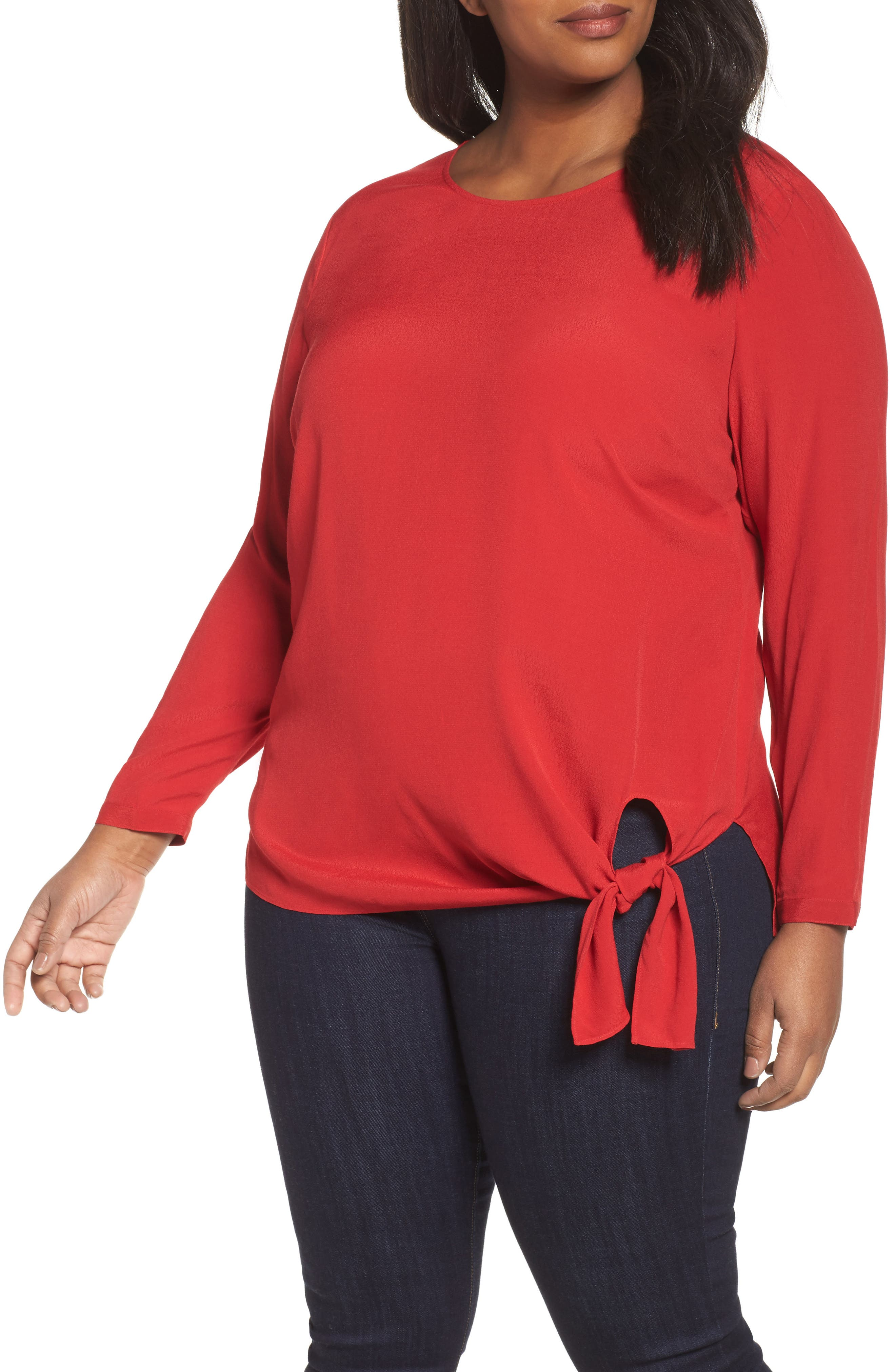 Side Tie Blouse,                             Main thumbnail 1, color,                             Red Sage