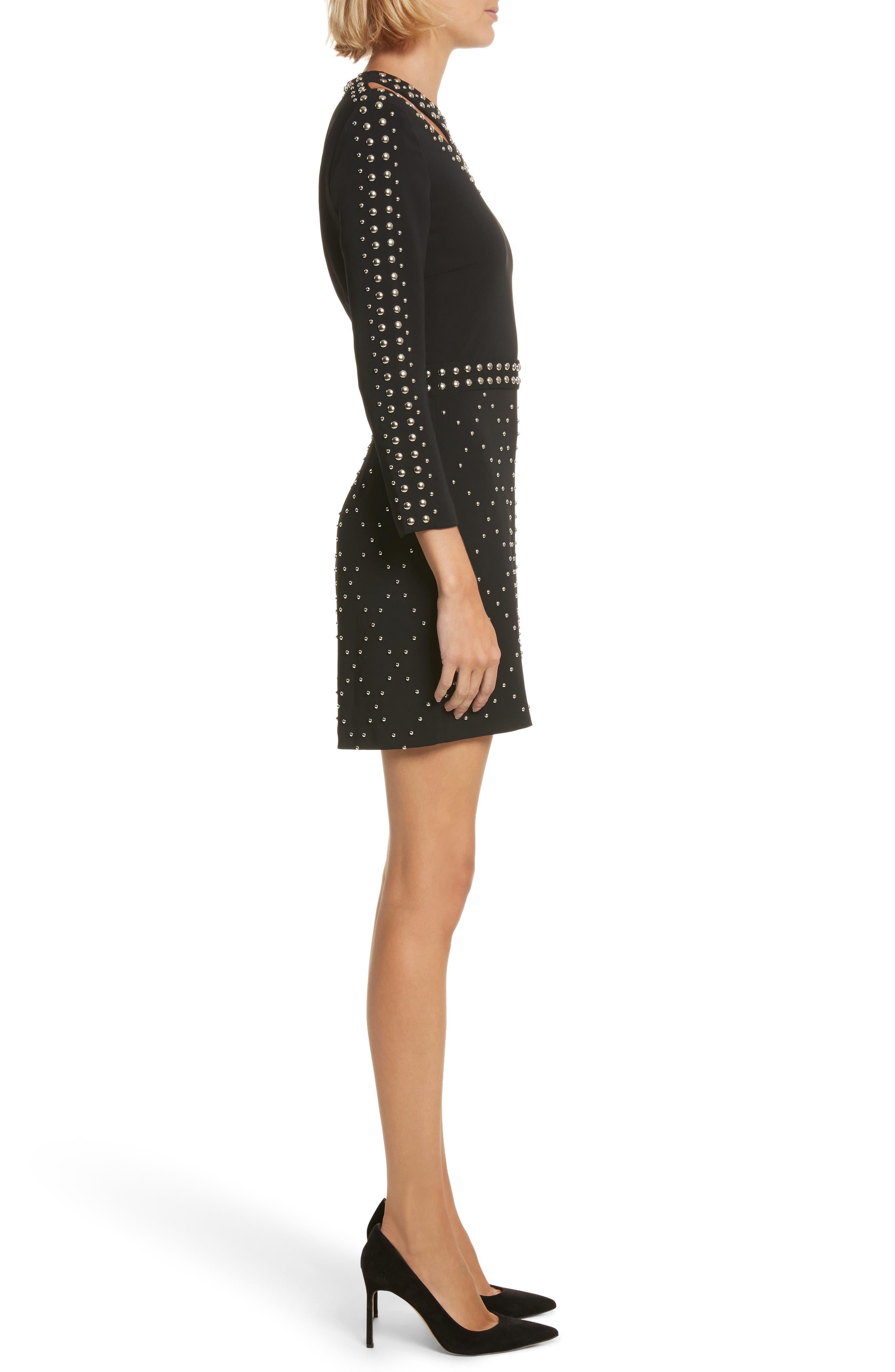 Taraji Studded Dress,                             Alternate thumbnail 3, color,                             Black