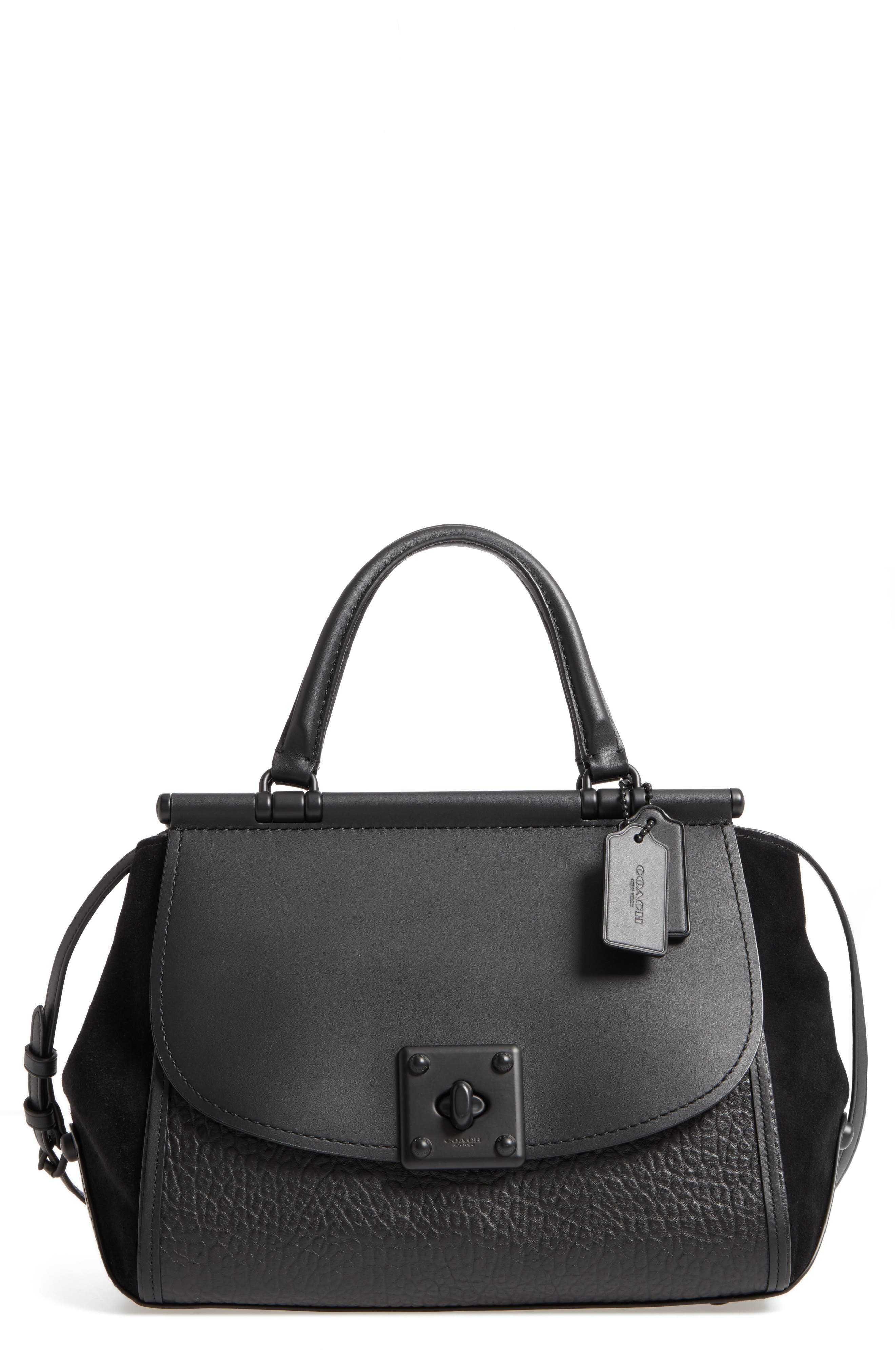 Mixed Leather Satchel,                         Main,                         color, Black