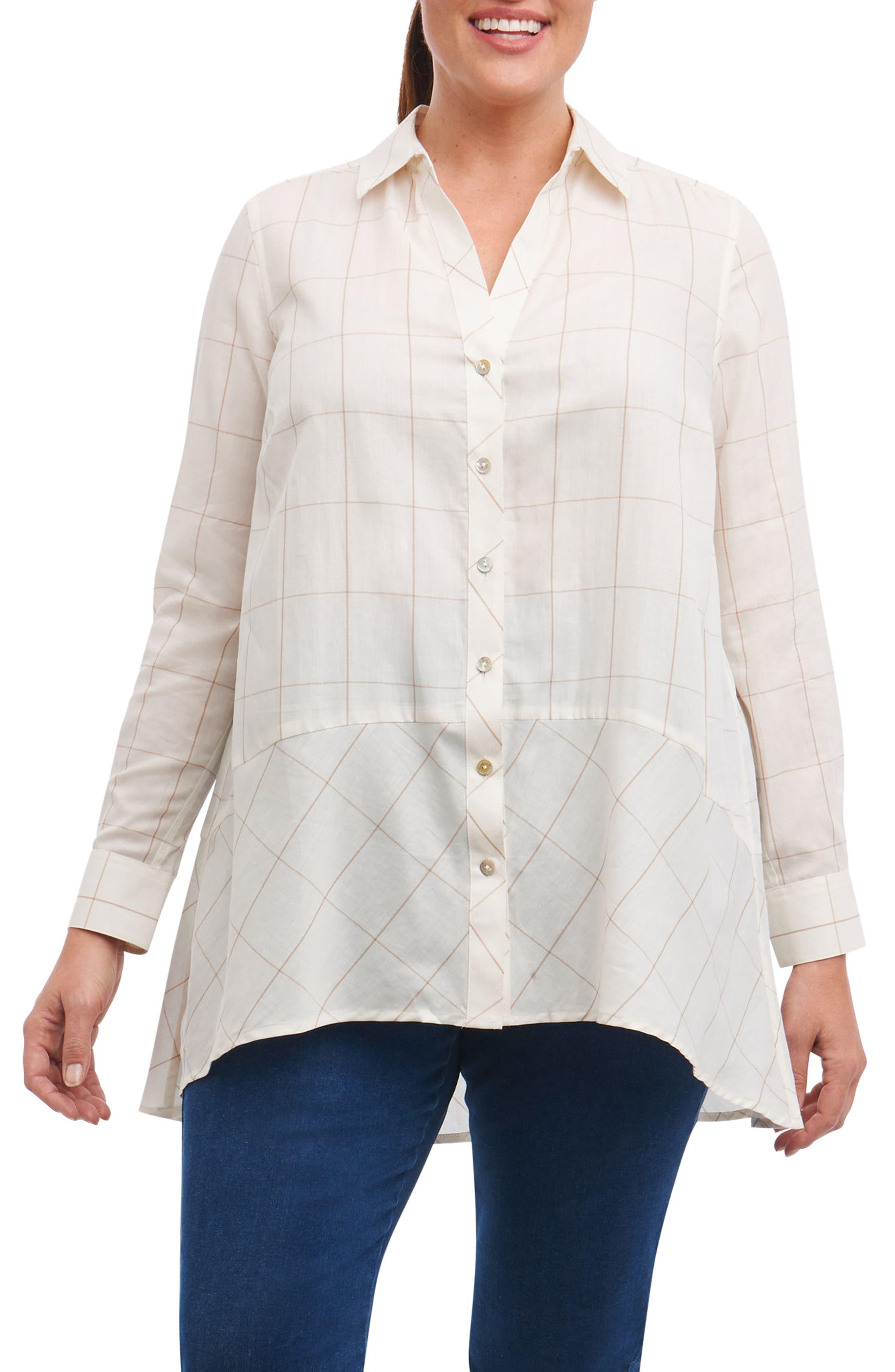 Main Image - Foxcroft Daniela Windowpane Tunic Shirt (Plus Size)
