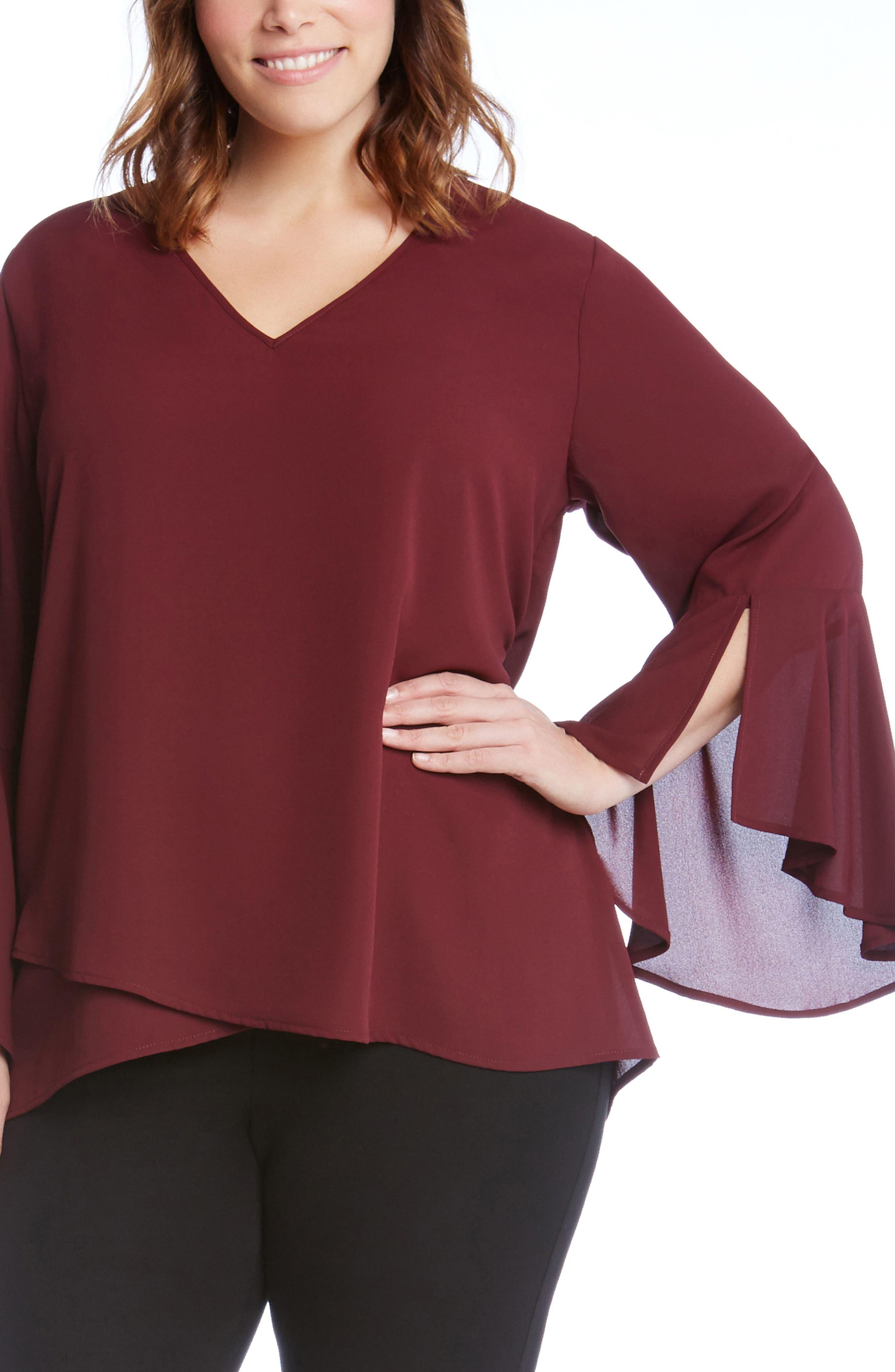 Split Sleeve Asymmetrical Hem Top,                         Main,                         color, Burgundy