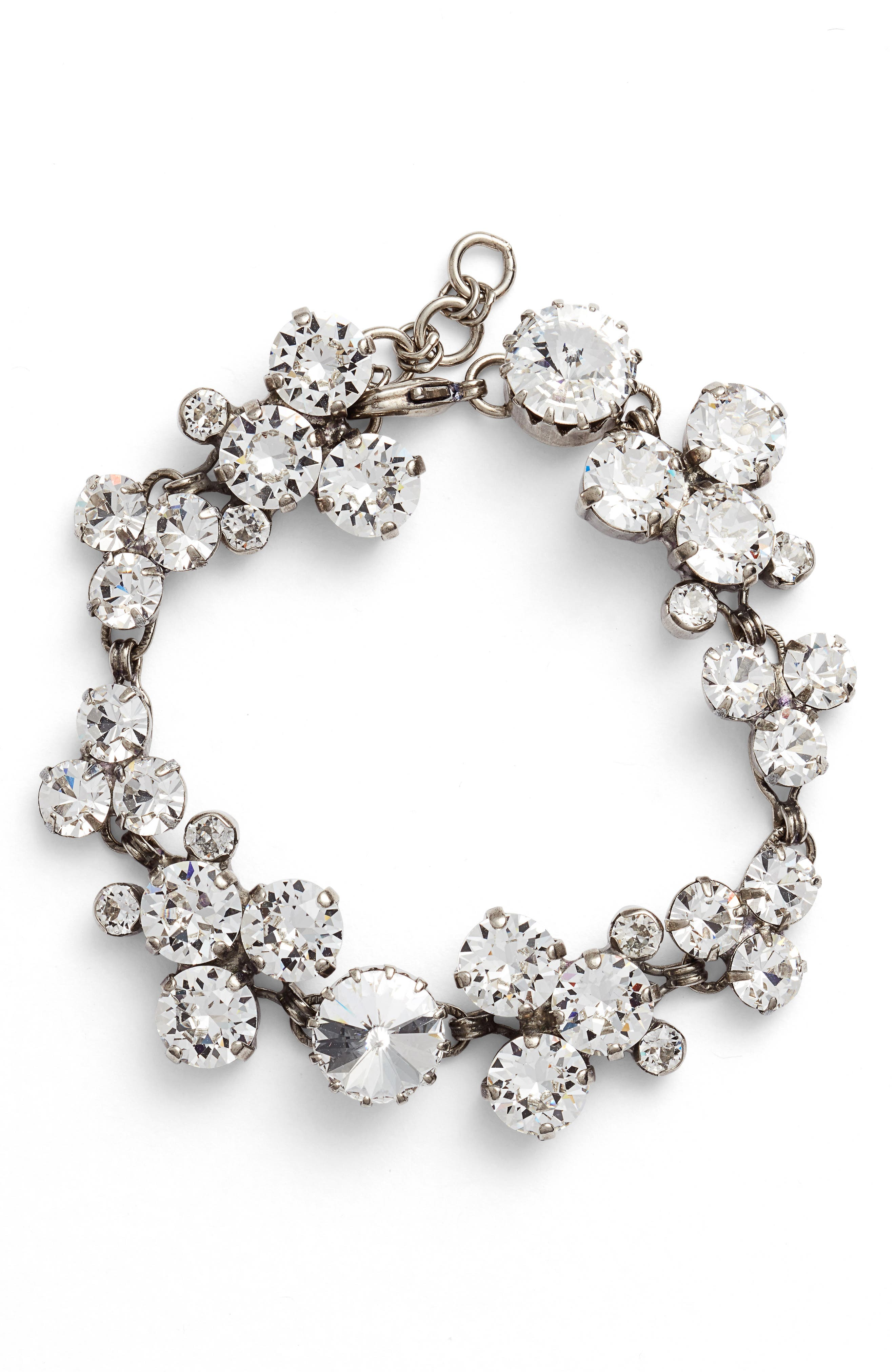 Jewelry Crystal Line Bracelet,                         Main,                         color, Clear