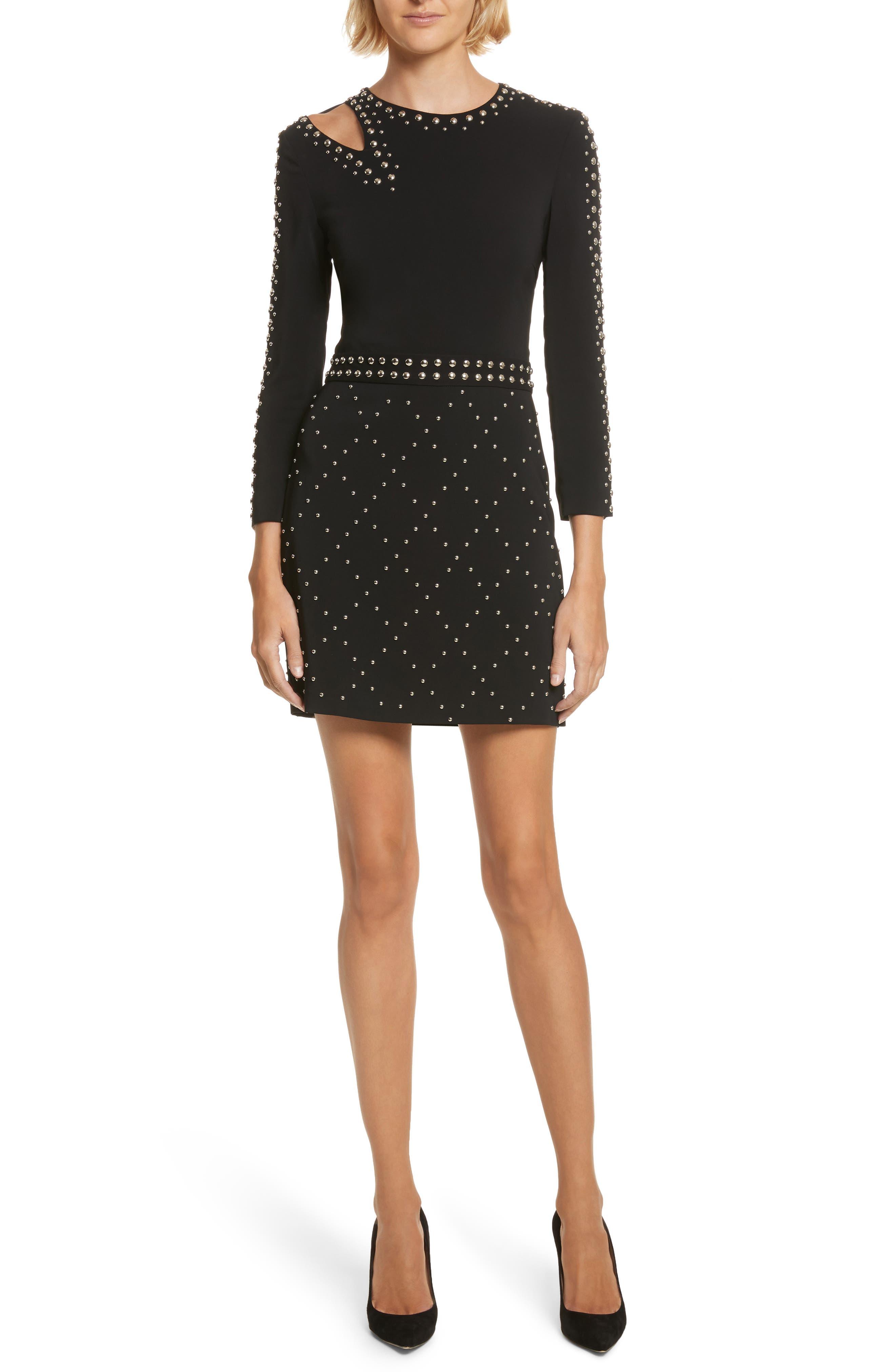 Taraji Studded Dress,                             Main thumbnail 1, color,                             Black