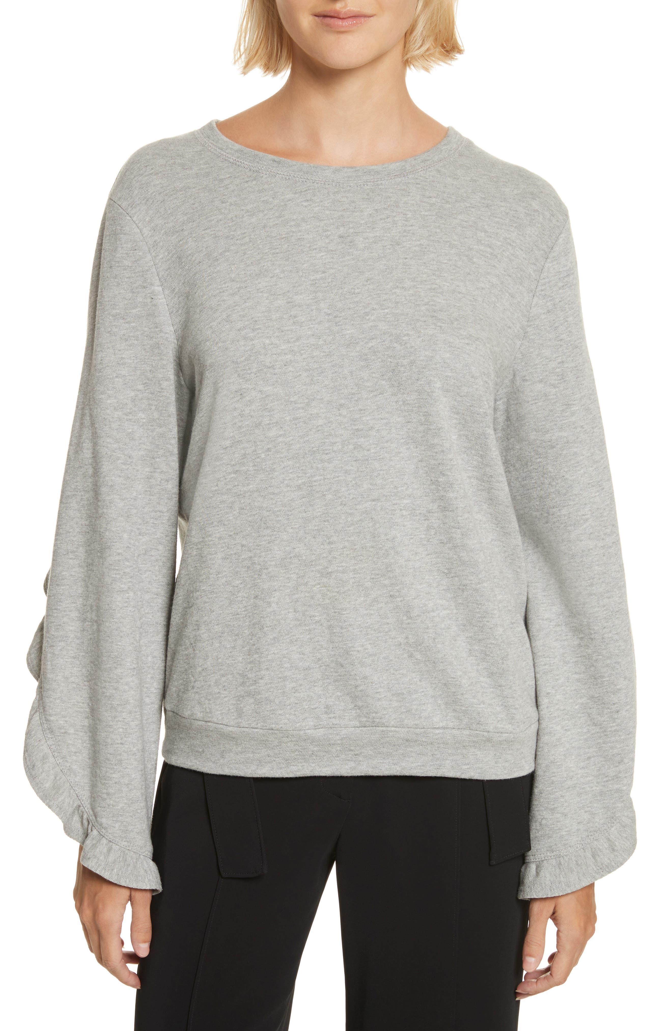 Camden Ruffle Sleeve Top,                         Main,                         color, Heather Grey