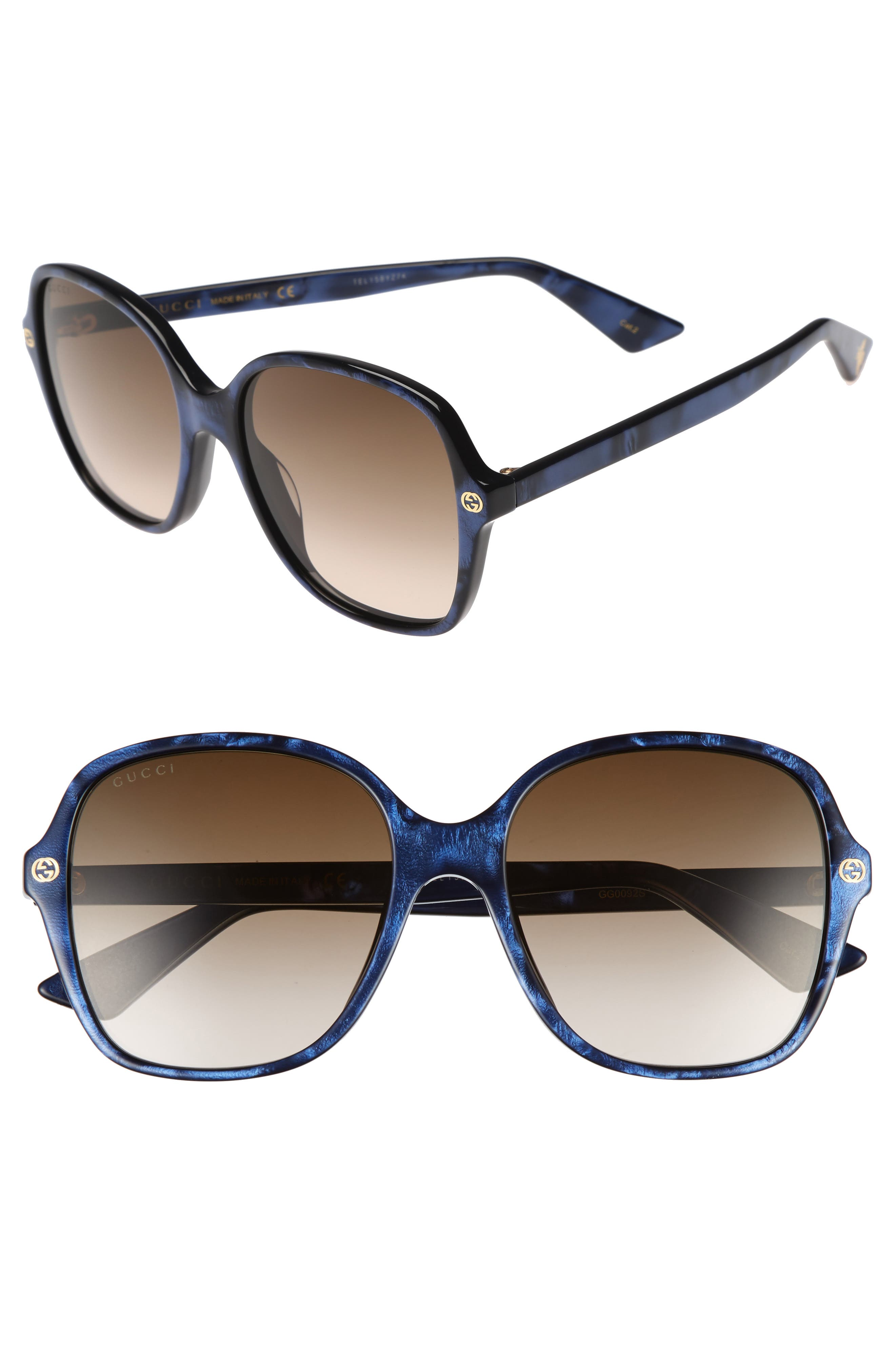 55mm Gradient Sunglasses,                             Main thumbnail 1, color,                             Blue/ Brown